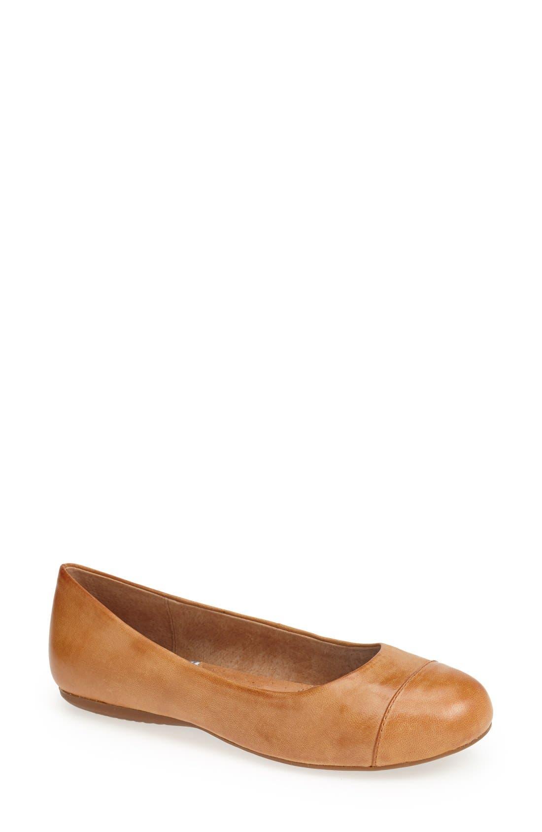 'Napa' Flat,                         Main,                         color, Tan Leather