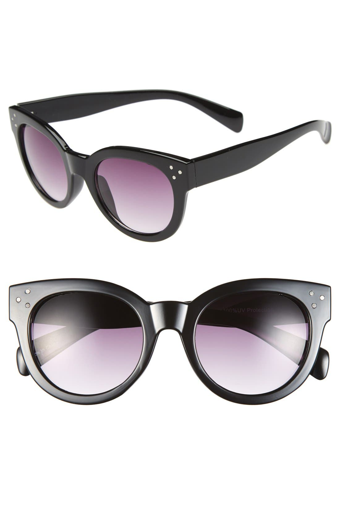 'Langham' 49mm Sunglasses,                             Main thumbnail 1, color,                             Black