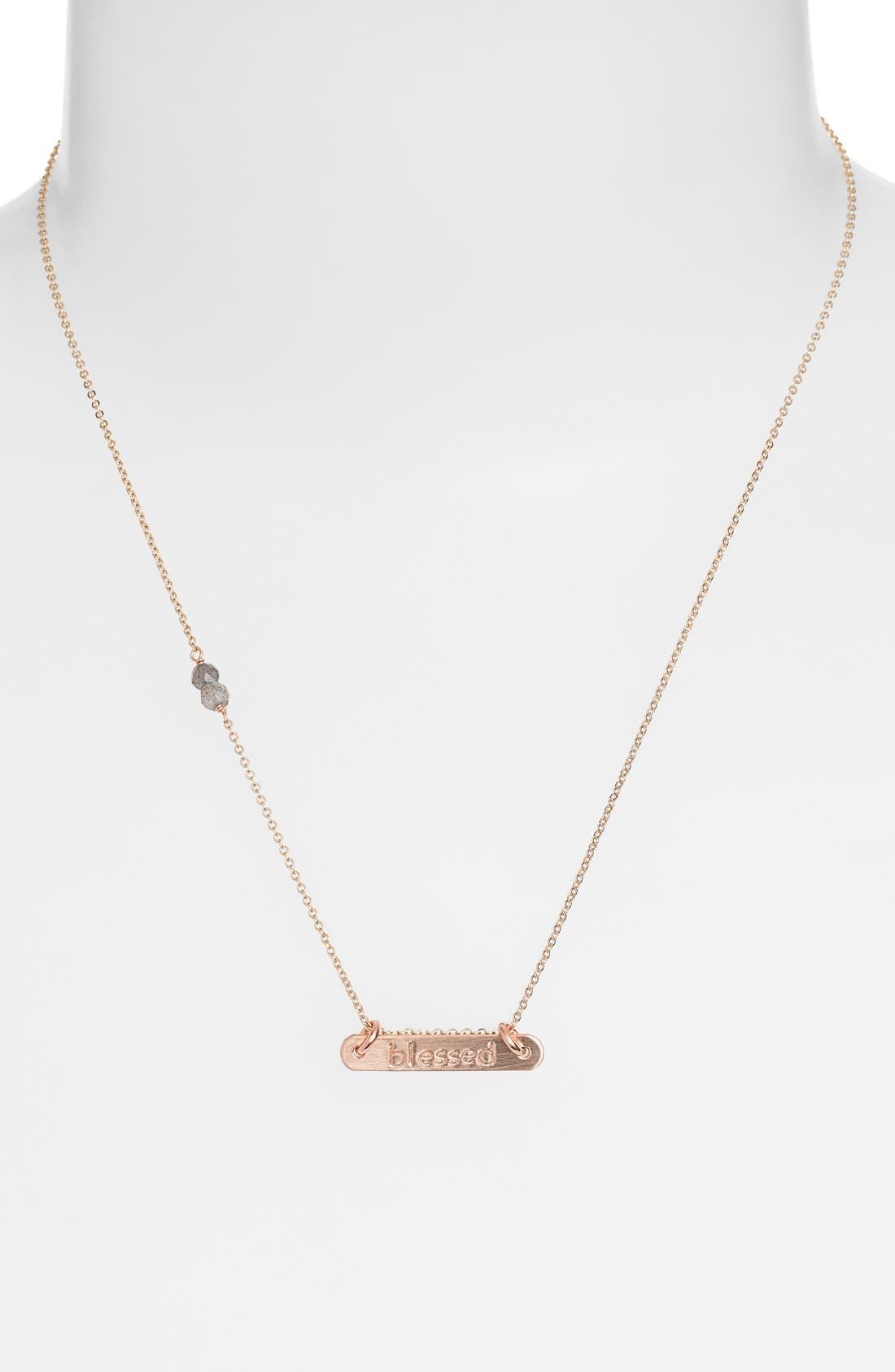 Alternate Image 2  - Nashelle 'Blessed' 14k Gold-Fill Bar Necklace