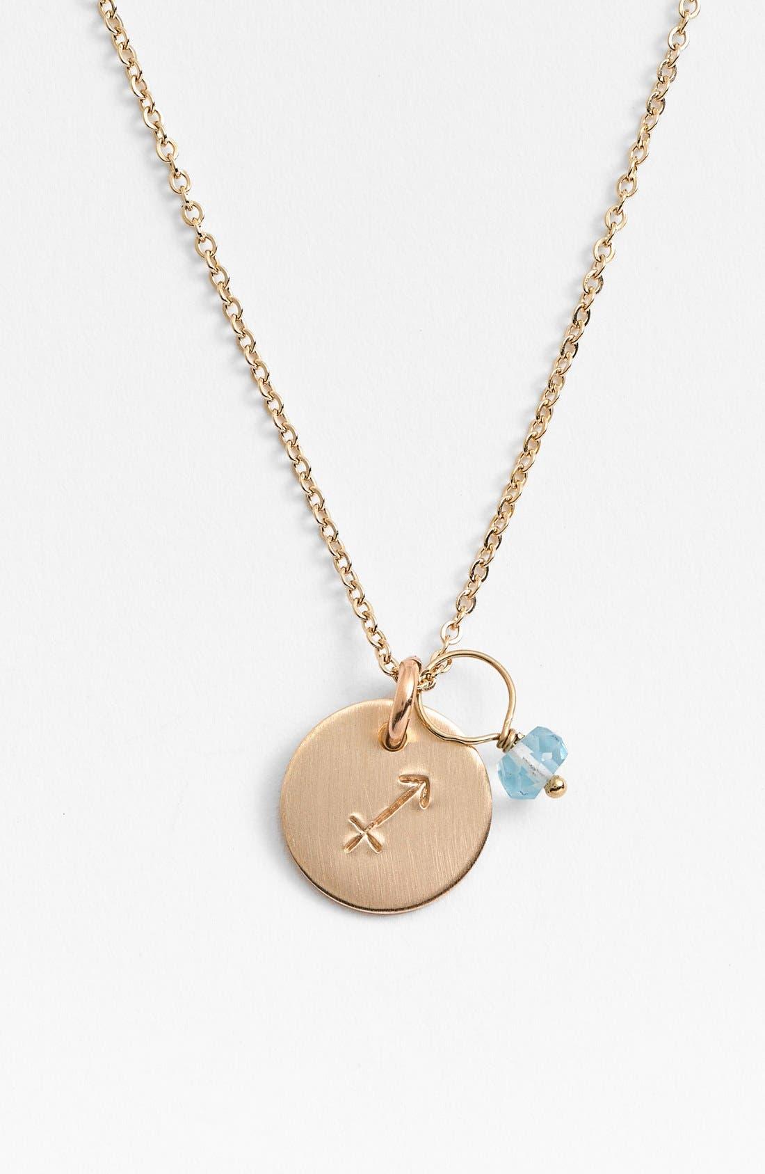 14k-Gold Fill & Semiprecious Birthstone Zodiac Mini Disc Necklace,                         Main,                         color, Sagittarius
