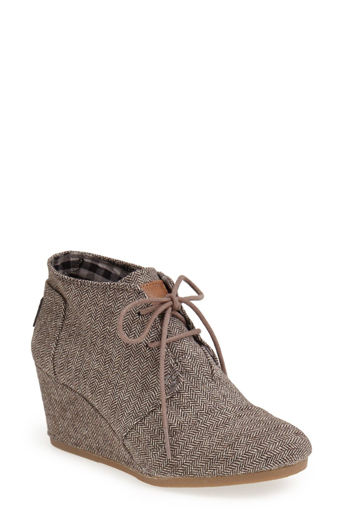 'Desert' Herringbone Wedge Bootie,                             Main thumbnail 1, color,                             Grey