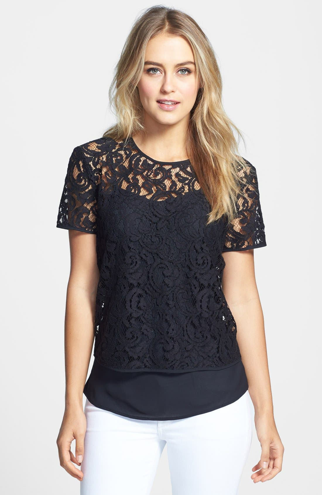 Lace Blouse with Camisole,                             Main thumbnail 1, color,                             Rich Black