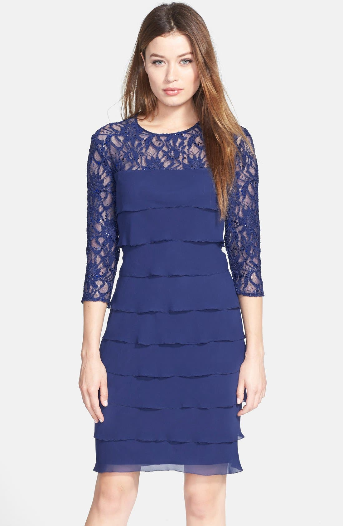 Main Image - Alex Evenings Tiered Chiffon & Lace Sheath Dress (Regular & Petite)