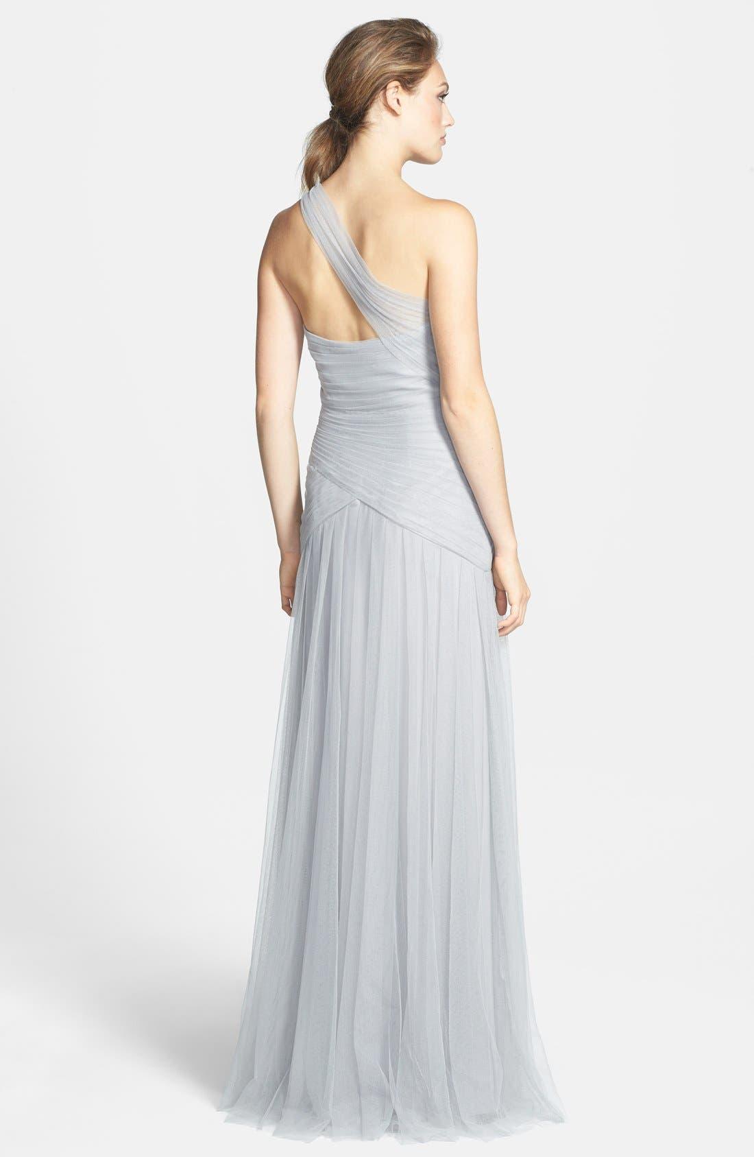Alternate Image 2  - Monique Lhuillier Bridesmaids Pleated One-Shoulder Tulle Trumpet Gown