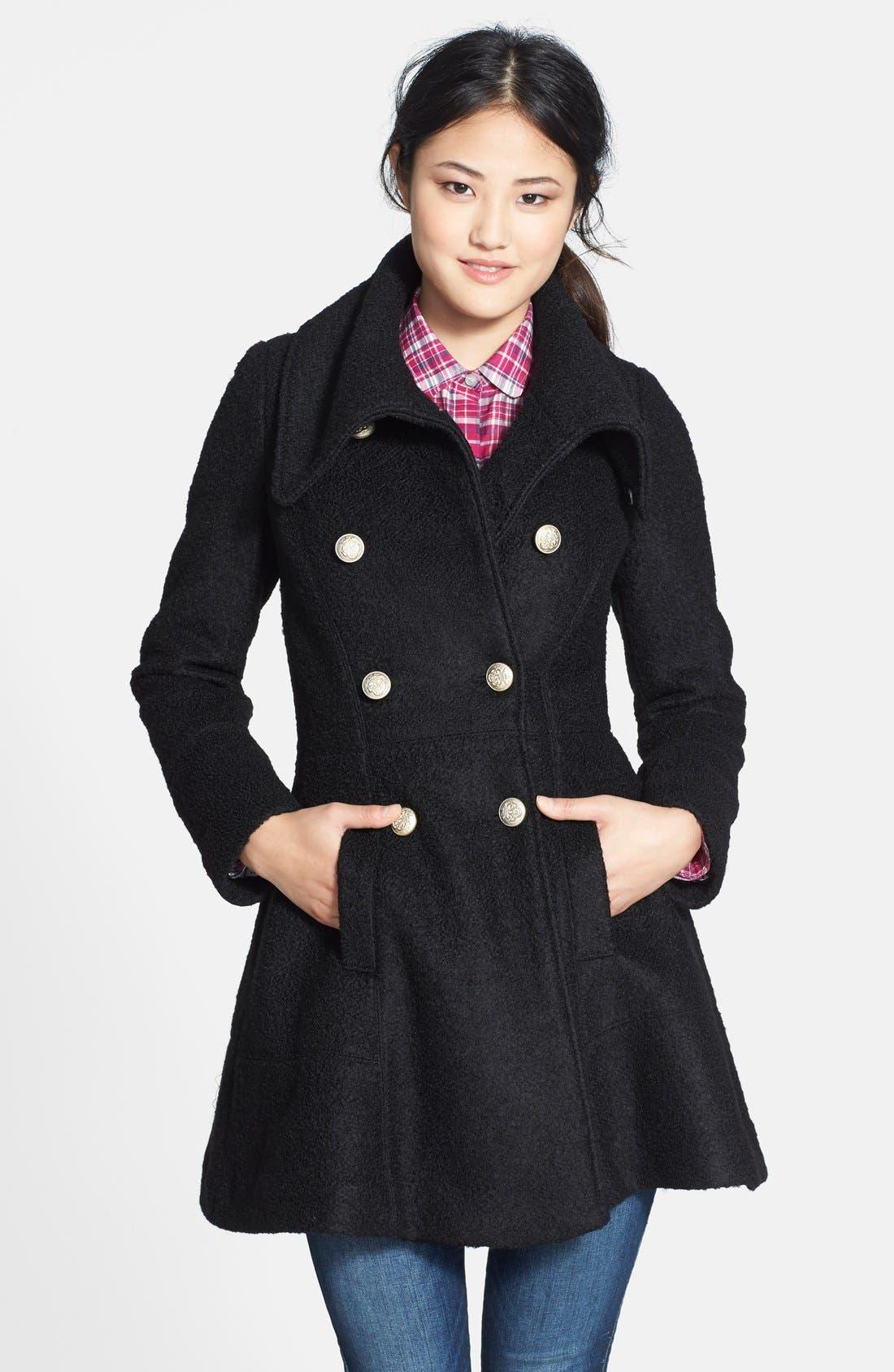 Double Breasted Bouclé Coat,                         Main,                         color, Black