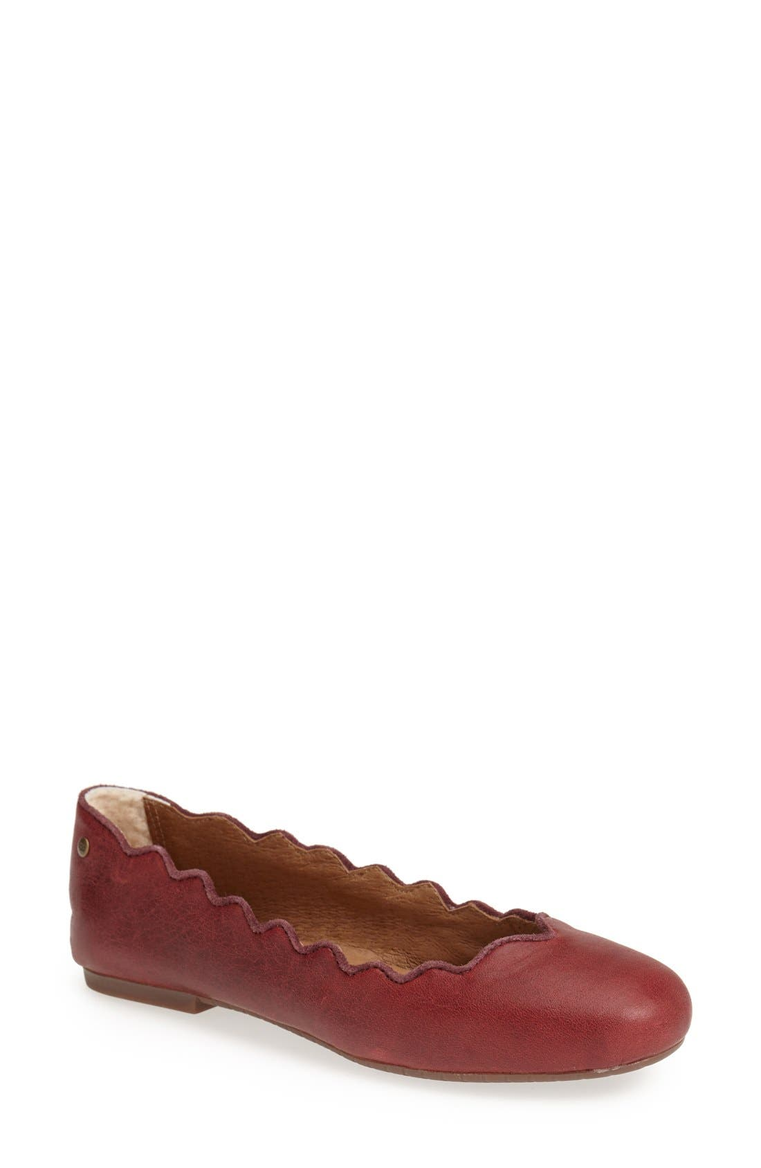 Alternate Image 1 Selected - UGG® Australia 'Chandra' Scalloped Flat (Women)