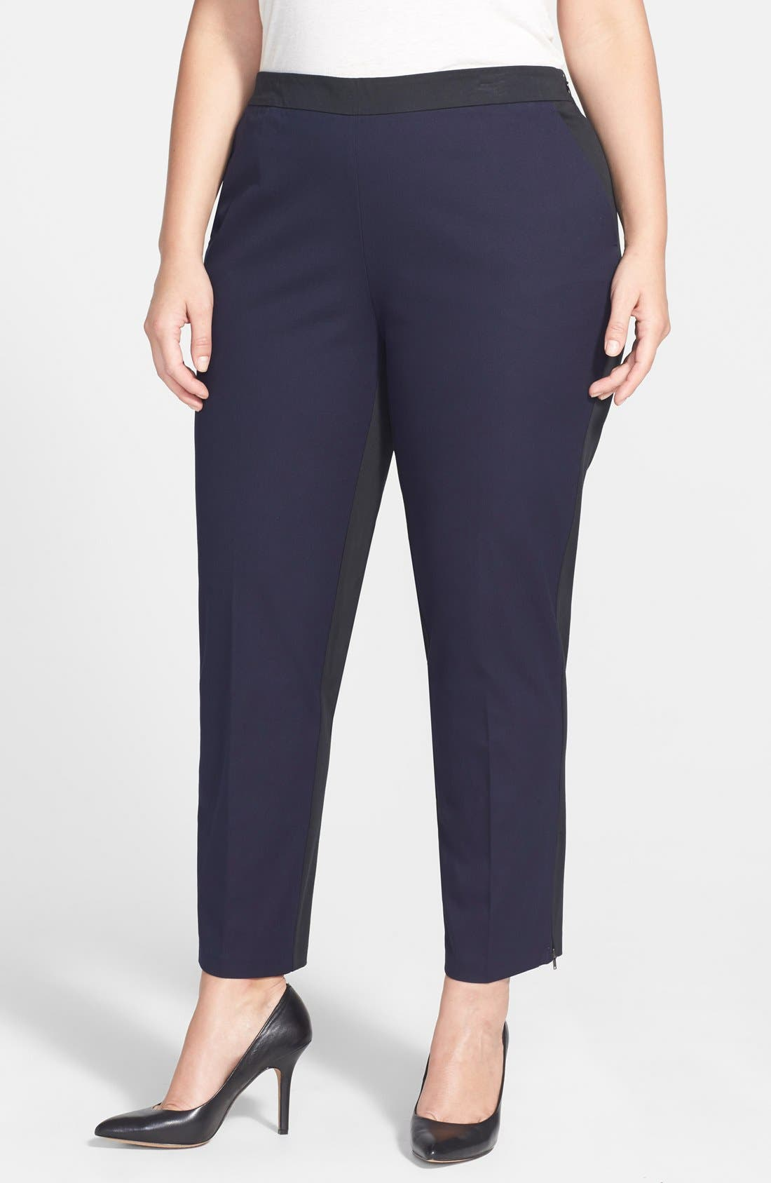 Main Image - Eileen Fisher Colorblock Slim Stretch Twill Ankle Pants (Plus Size)