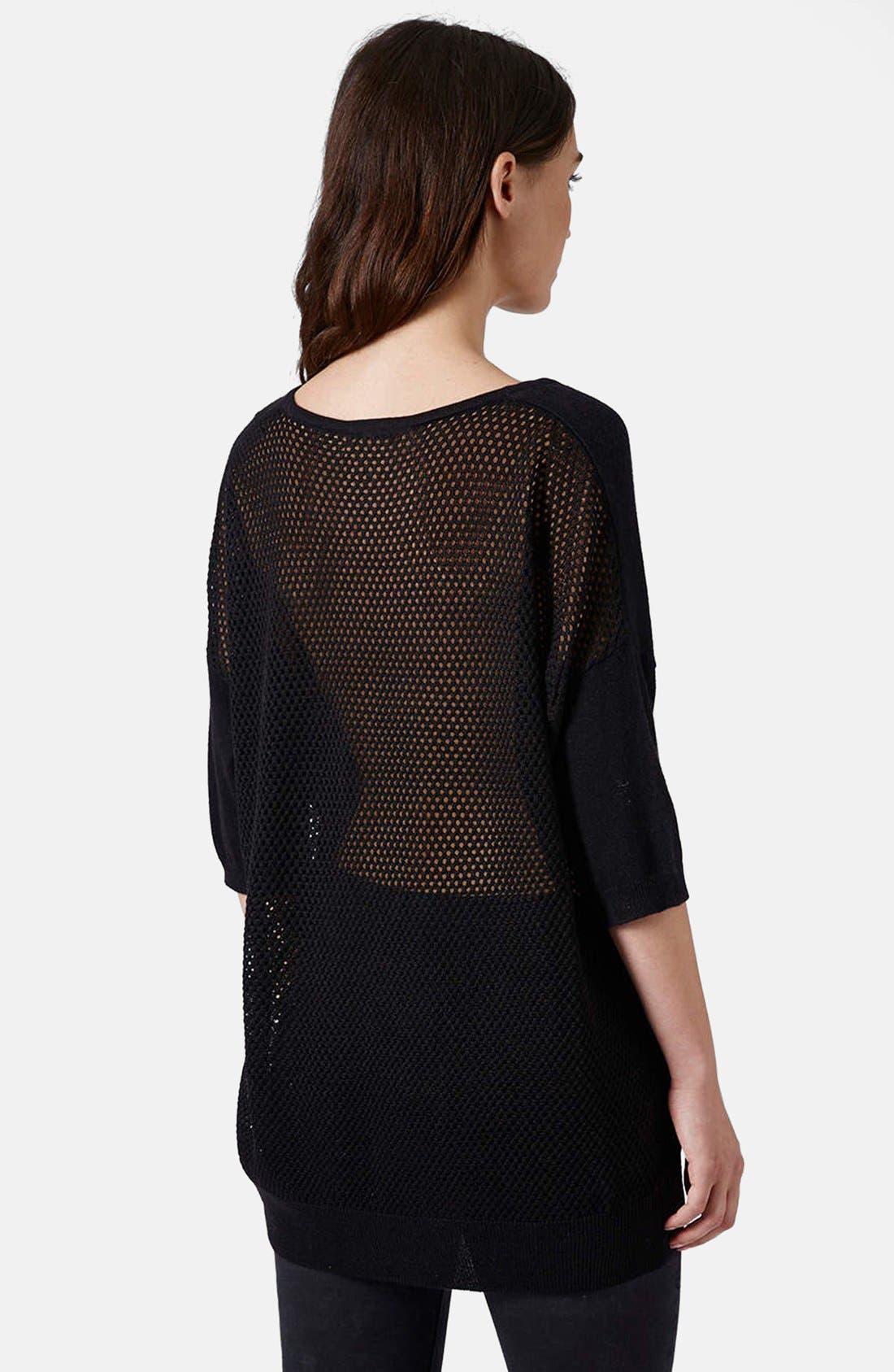 Alternate Image 2  - Topshop Mesh Back Knit Sweater