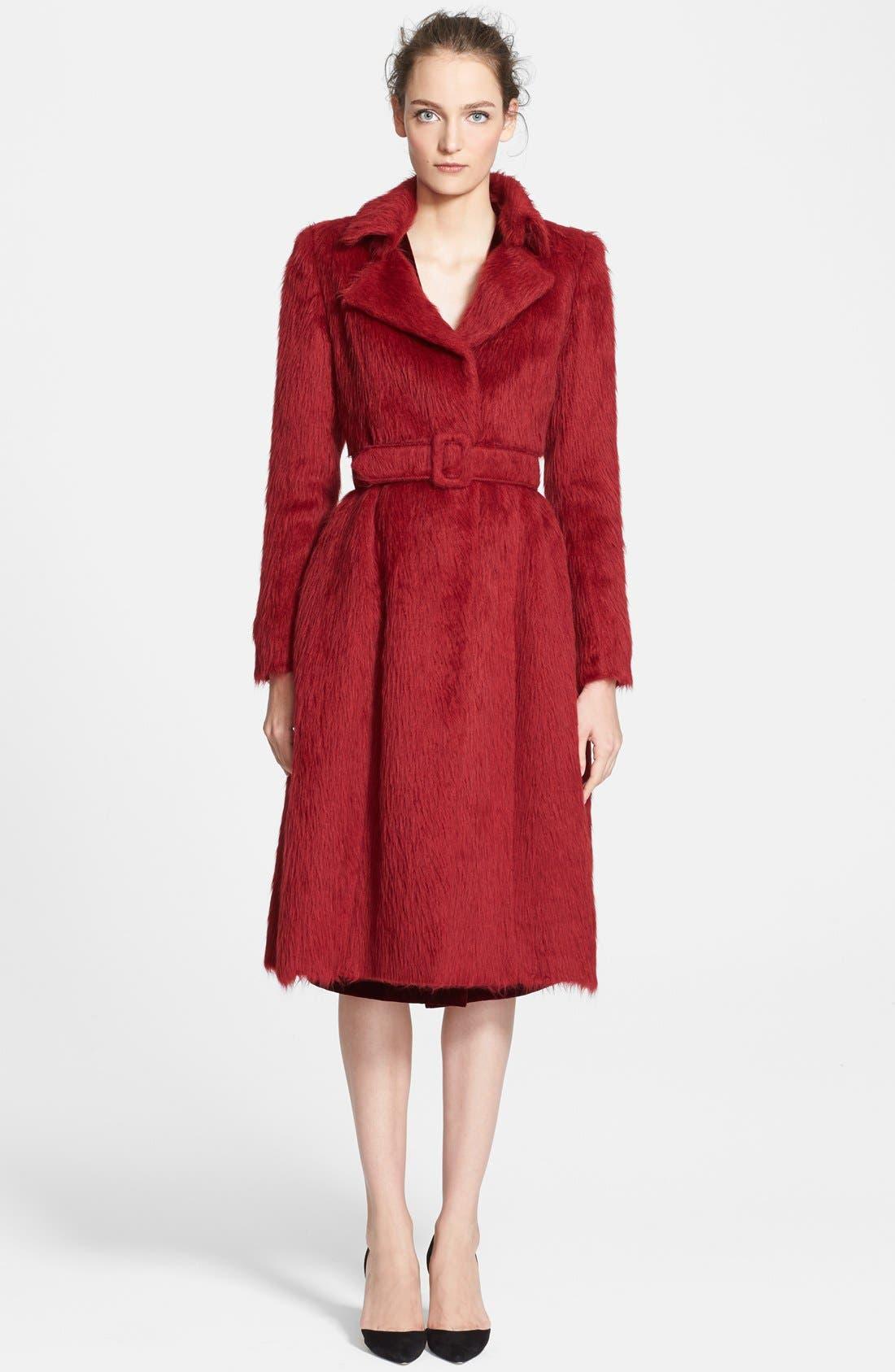 Main Image - Oscar de la Renta Belted Alpaca Blend Coat