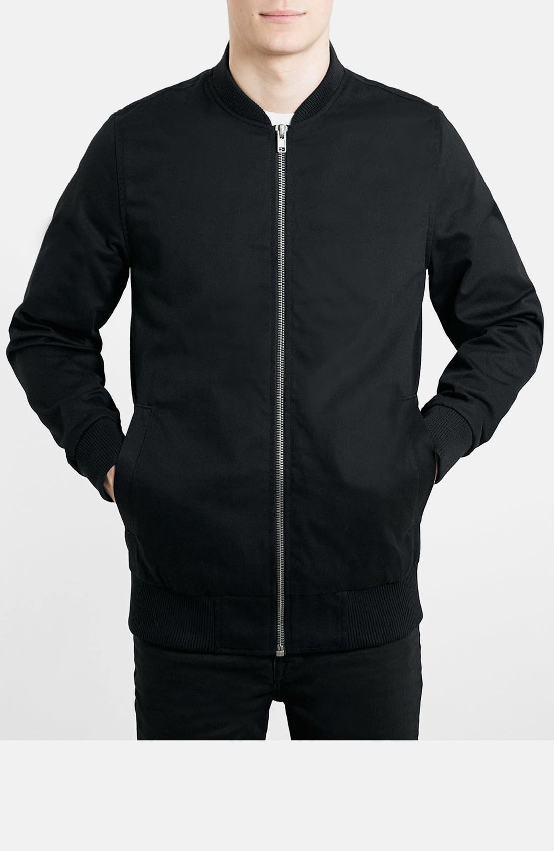 Alternate Image 1 Selected - Topman Longline Lightweight Twill Bomber Jacket