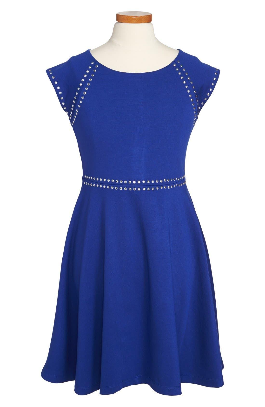 Alternate Image 1 Selected - Nicole Miller Studded Skater Dress (Big Girls)