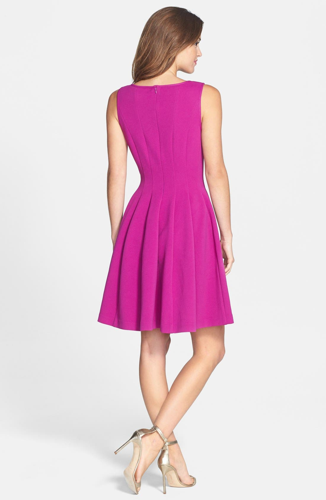 Textured Fit & Flare Dress,                             Alternate thumbnail 2, color,                             Light Purple