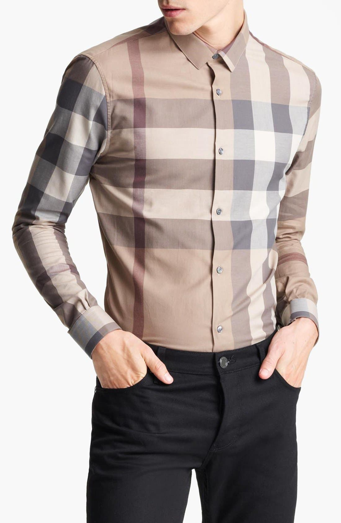 Alternate Image 1 Selected - Burberry London 'Pembury' Trim Fit Check Shirt