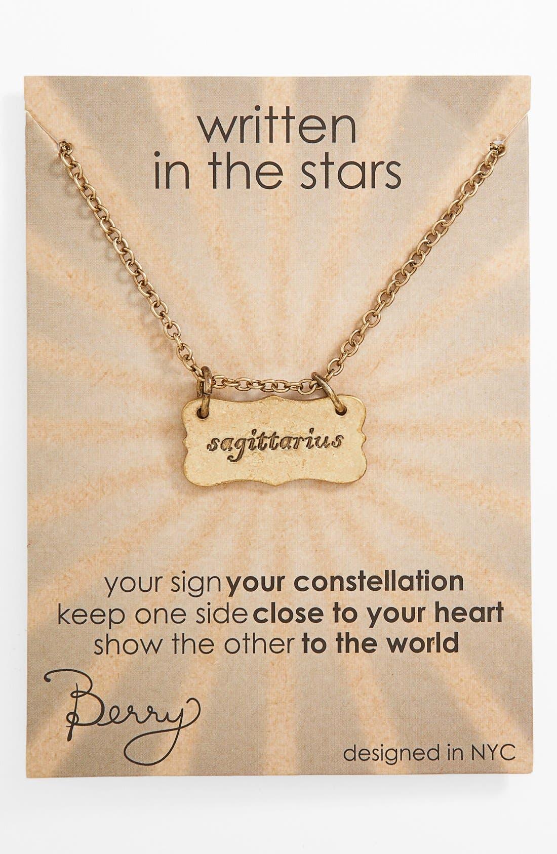 Main Image - Berry 'Zodiac - Sagittarius' Reversible Pendant Necklace (Goldtone)