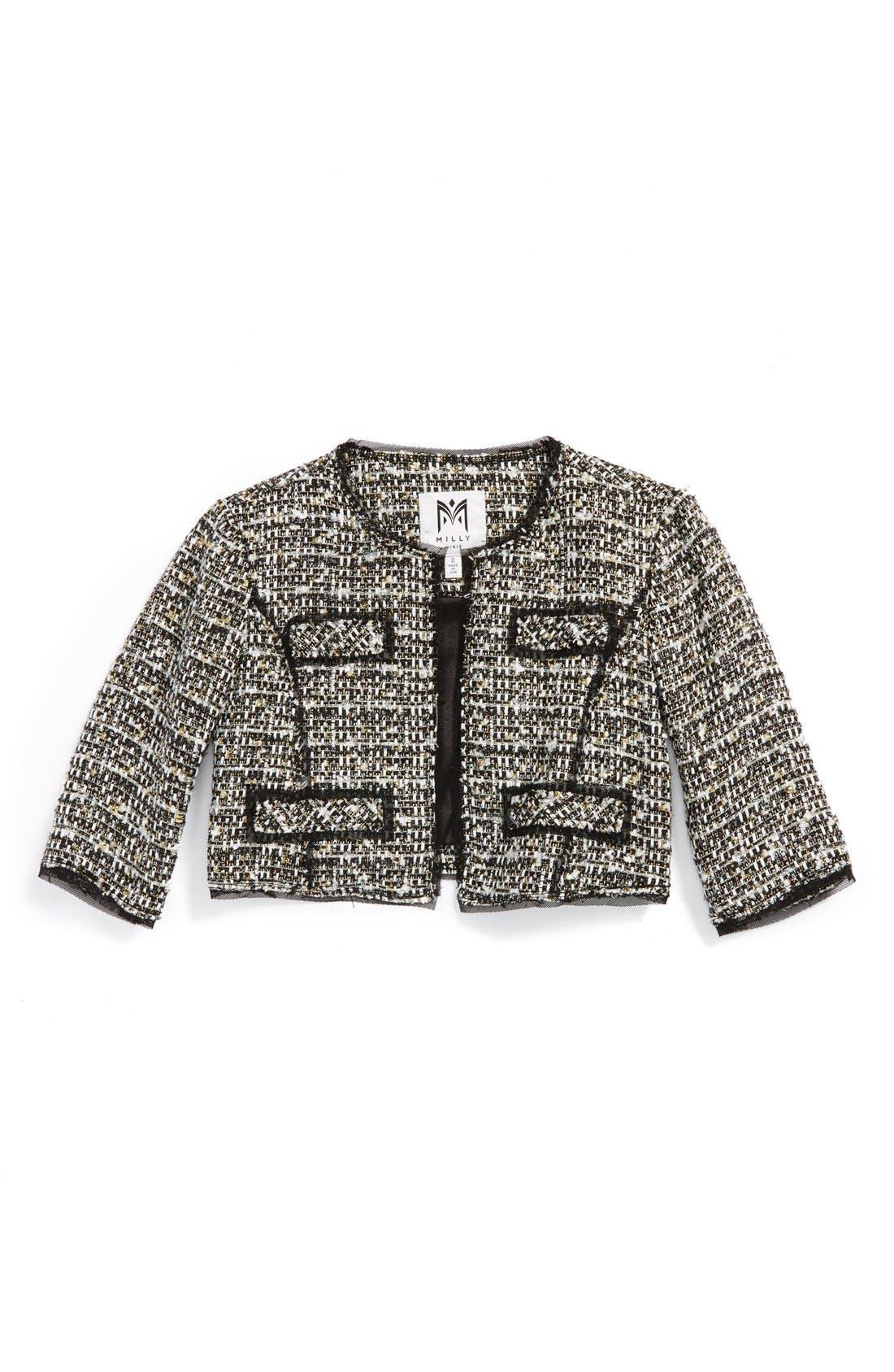 Main Image - Milly Minis Crop Tweed Jacket (Toddler Girls, Little Girls & Big Girls)