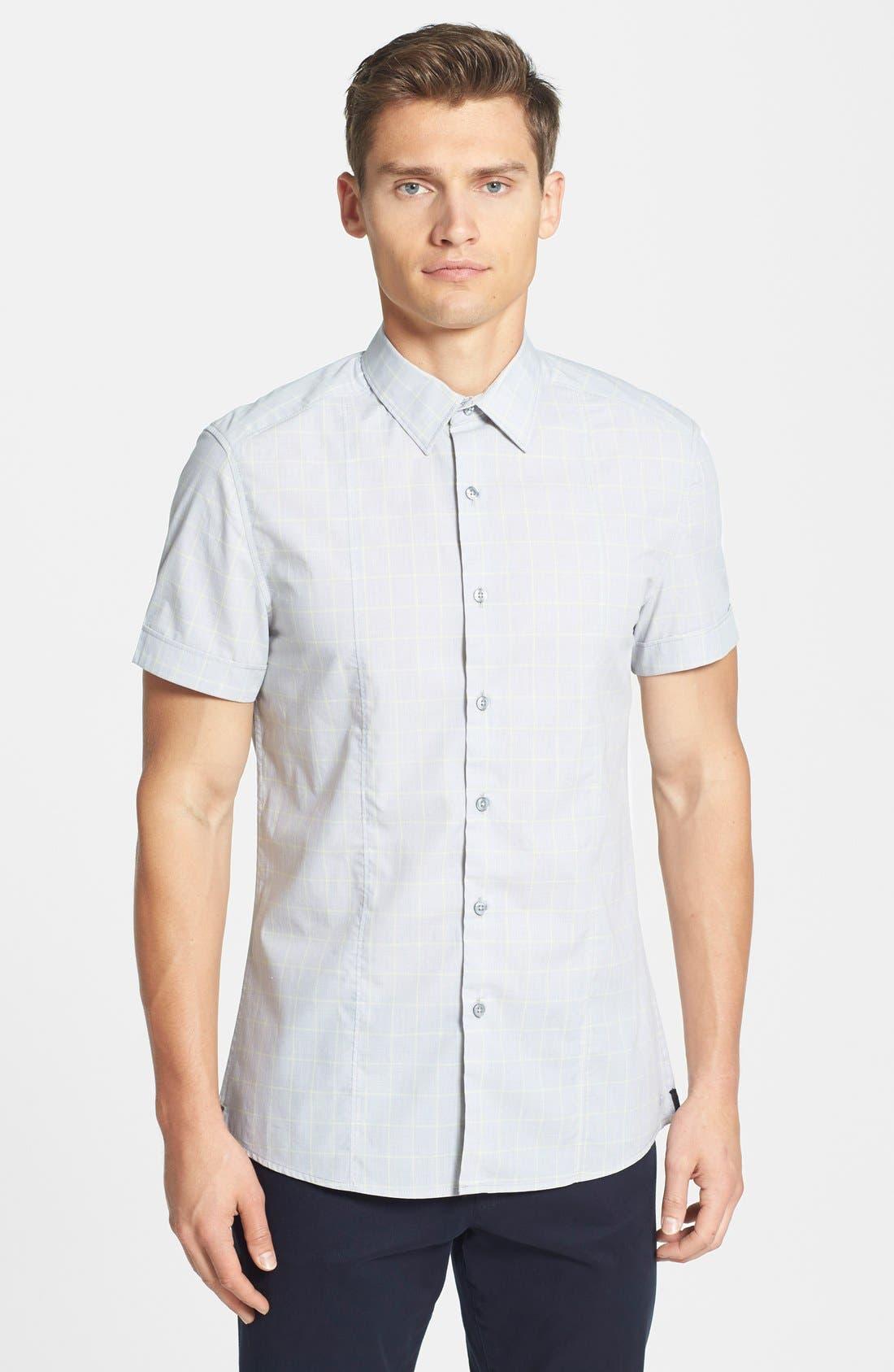 Main Image - Kenneth Cole New York Trim Fit Short Sleeve Windowpane Plaid Sport Shirt