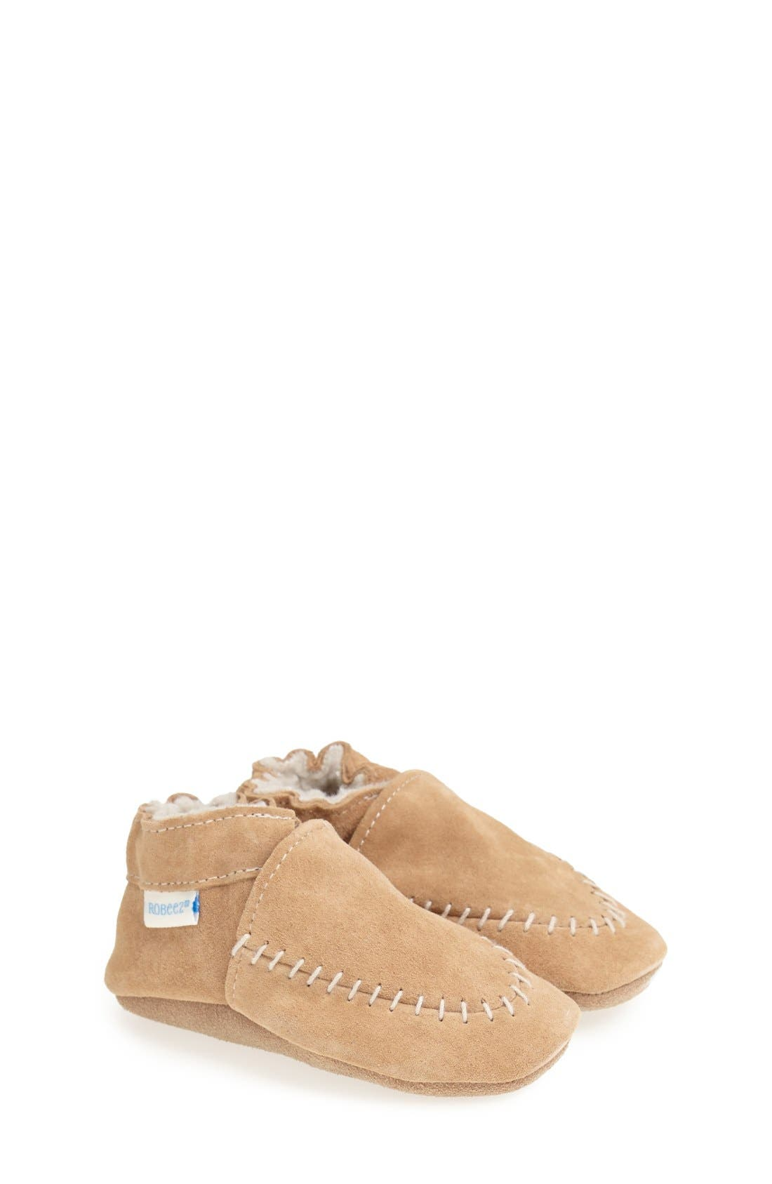 Cozy Moccasin Crib Shoe,                             Main thumbnail 1, color,                             Taupe