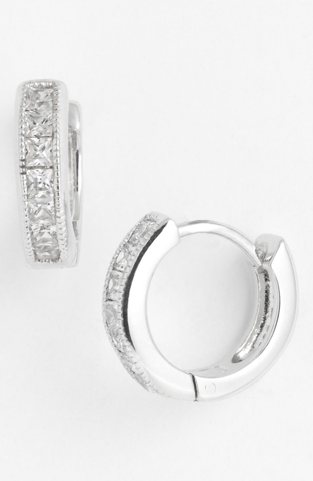 Hoop Earrings,                         Main,                         color, Silver/ Cubic Zirconia