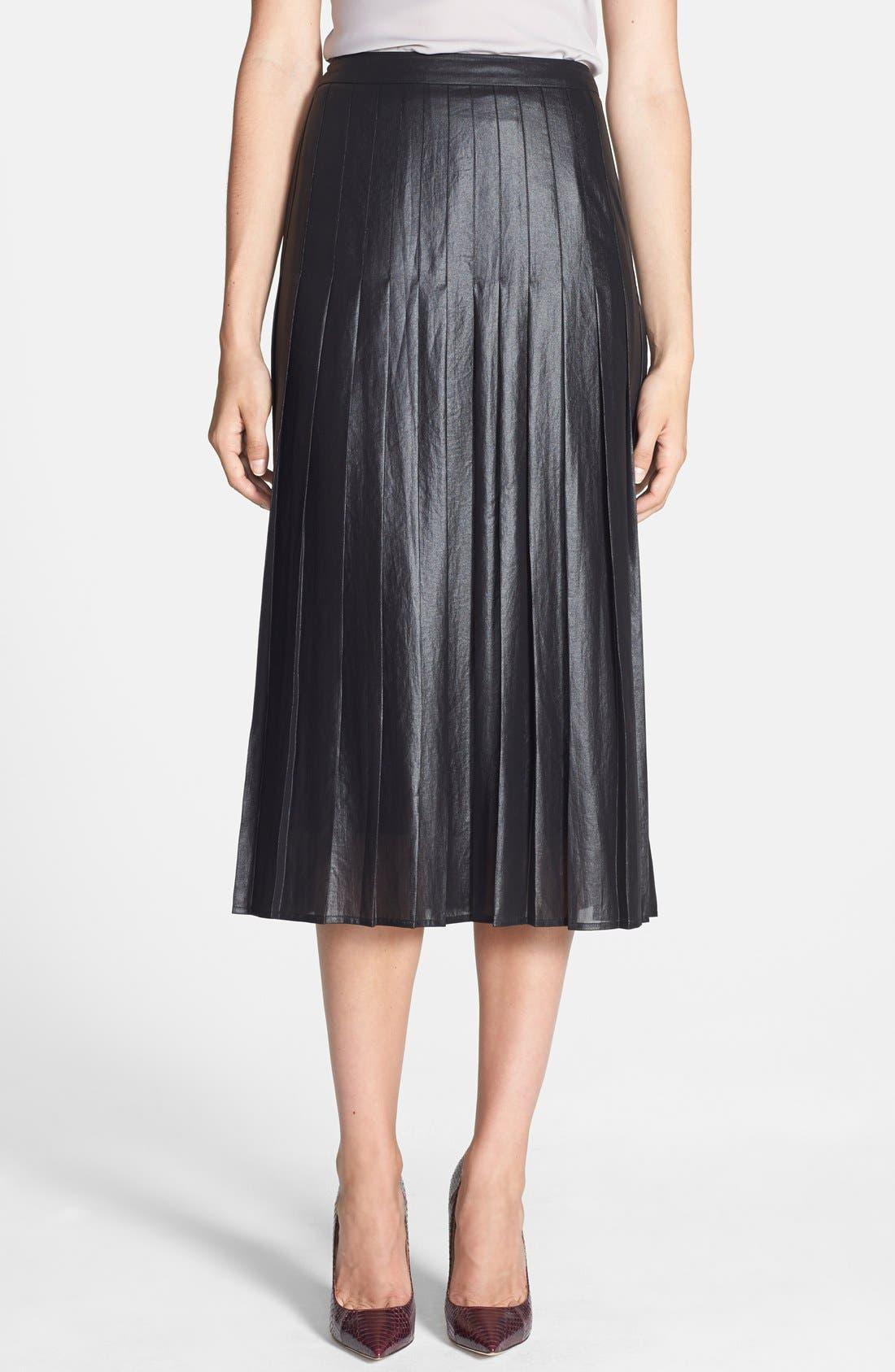 Pleat Midi Skirt,                             Main thumbnail 1, color,                             Coated Black