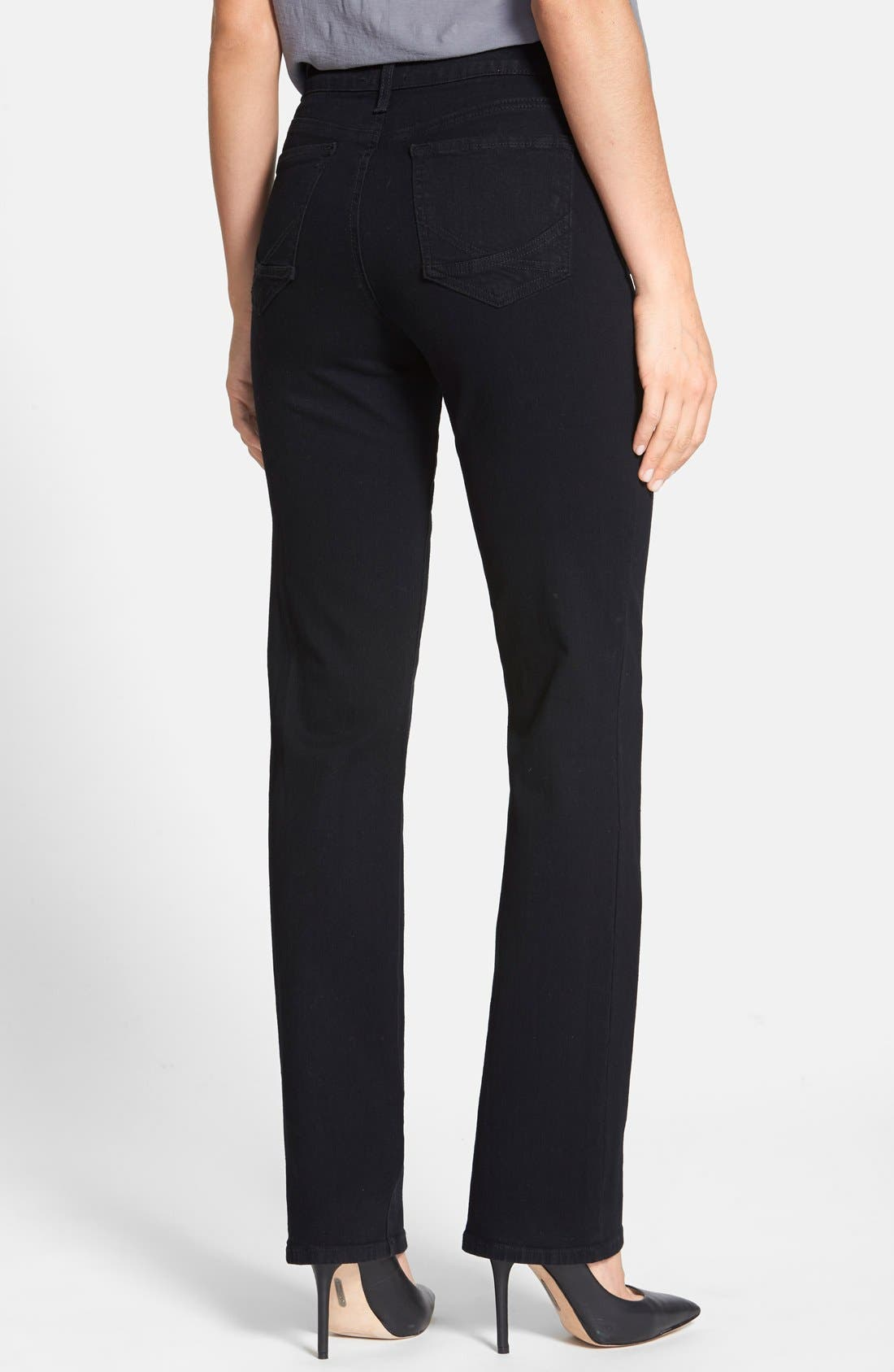 'Marilyn' Stretch Straight Leg Jeans,                             Alternate thumbnail 2, color,                             Black