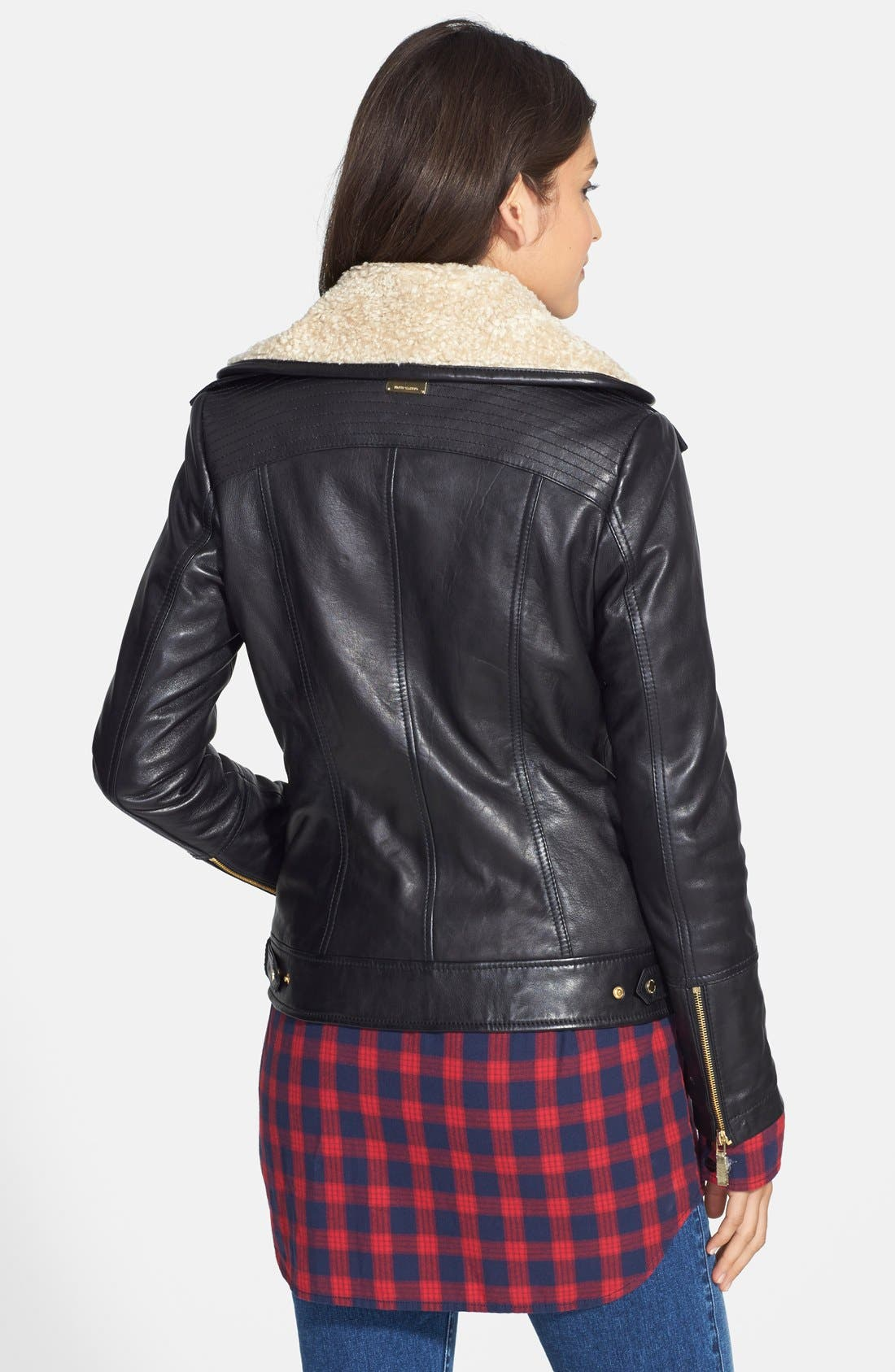 Alternate Image 2  - Vince Camuto Faux Shearling Trim Lambskin Leather Jacket