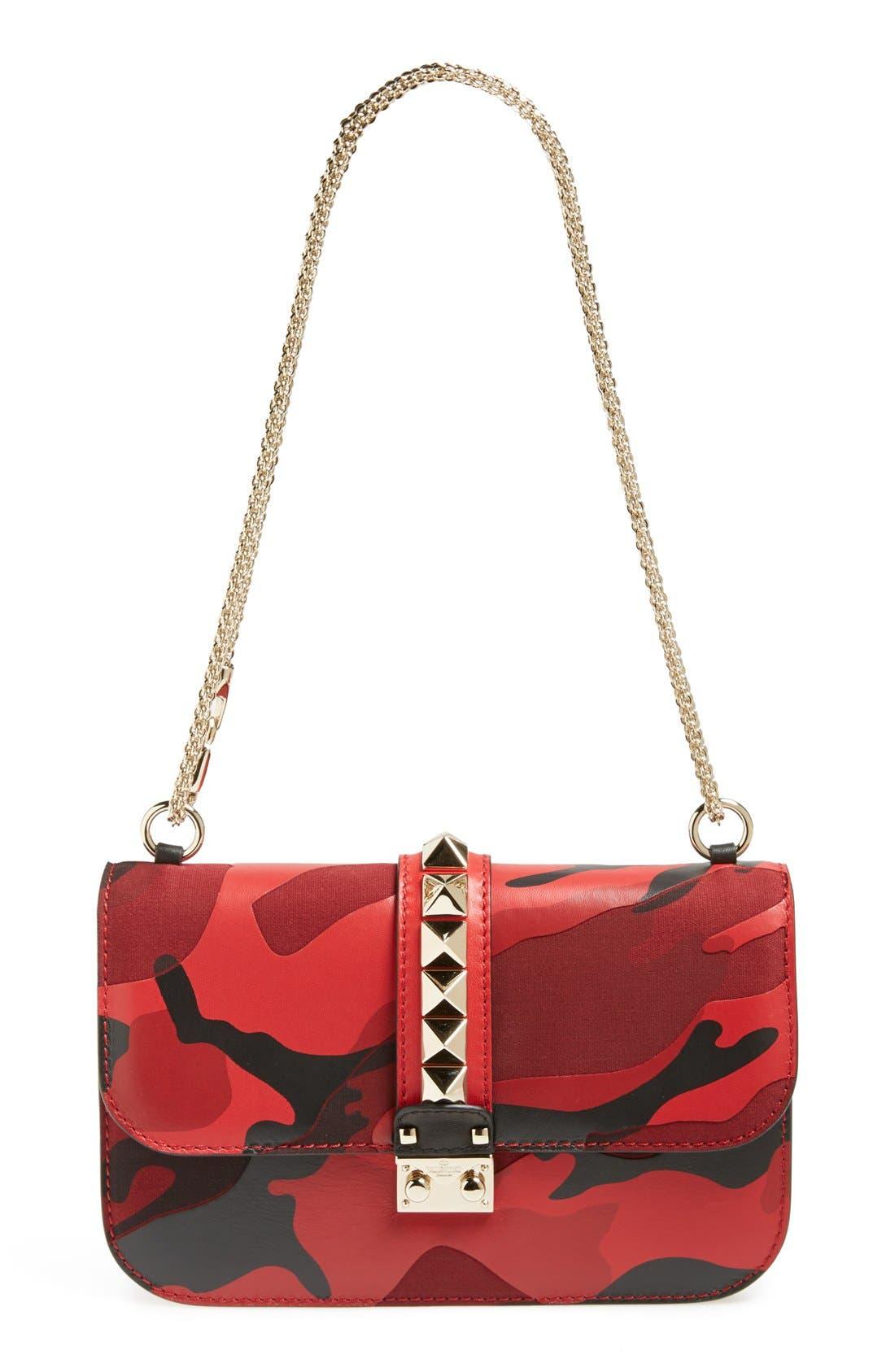 Main Image - Valentino 'Rockstud Camo - Medium Lock' Canvas & Leather Shoulder Bag