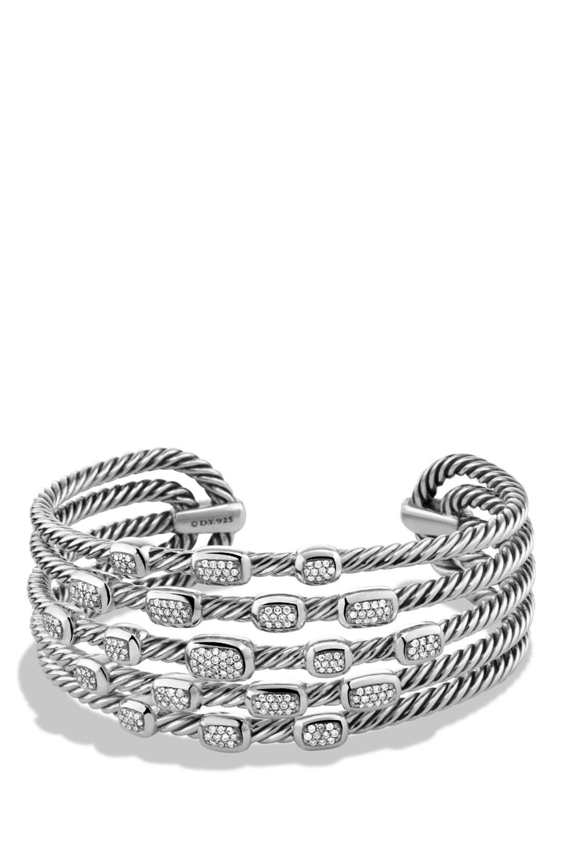 'Confetti' Wide Cuff Bracelet with Diamonds,                         Main,                         color, Diamond