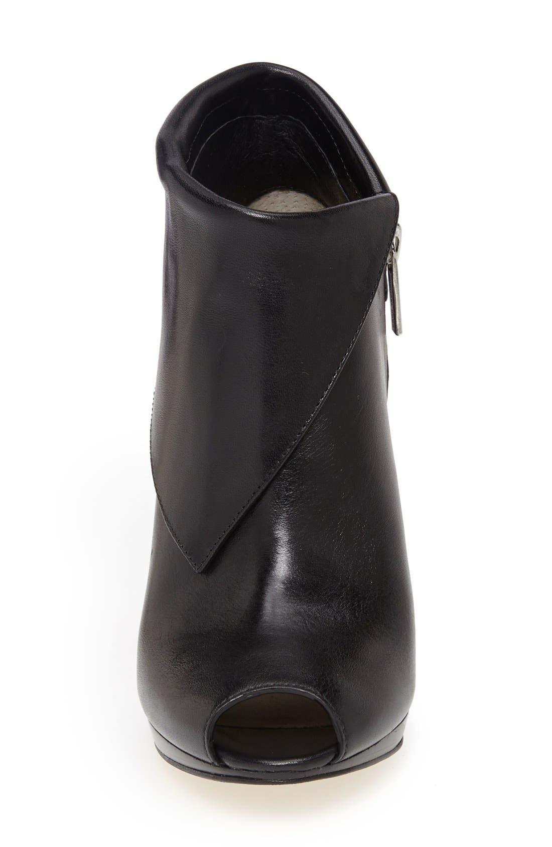 'Kendra' Peep Toe Bootie,                             Alternate thumbnail 3, color,                             Black