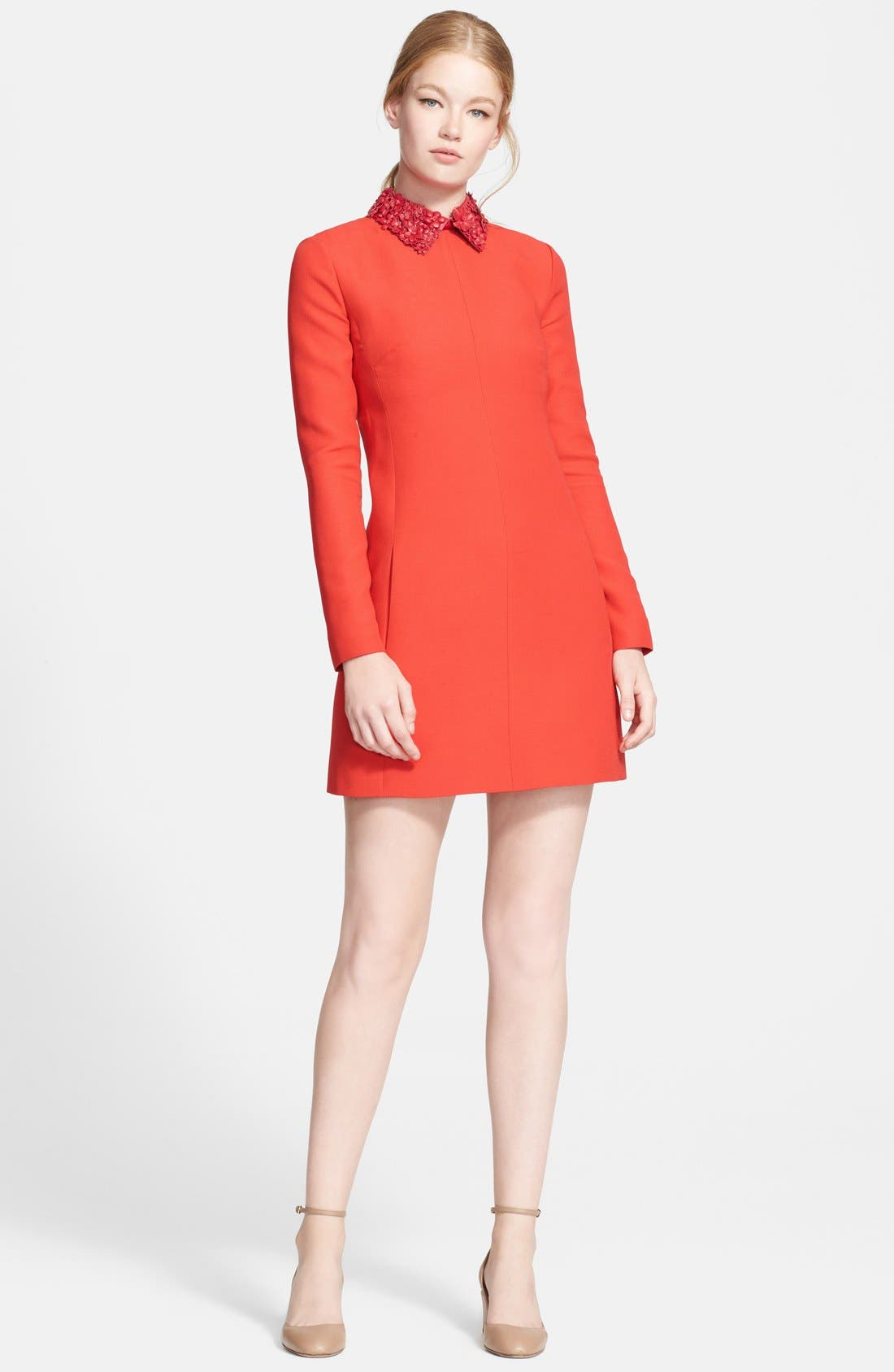 Alternate Image 1 Selected - Valentino Embellished Leather Collar Minidress