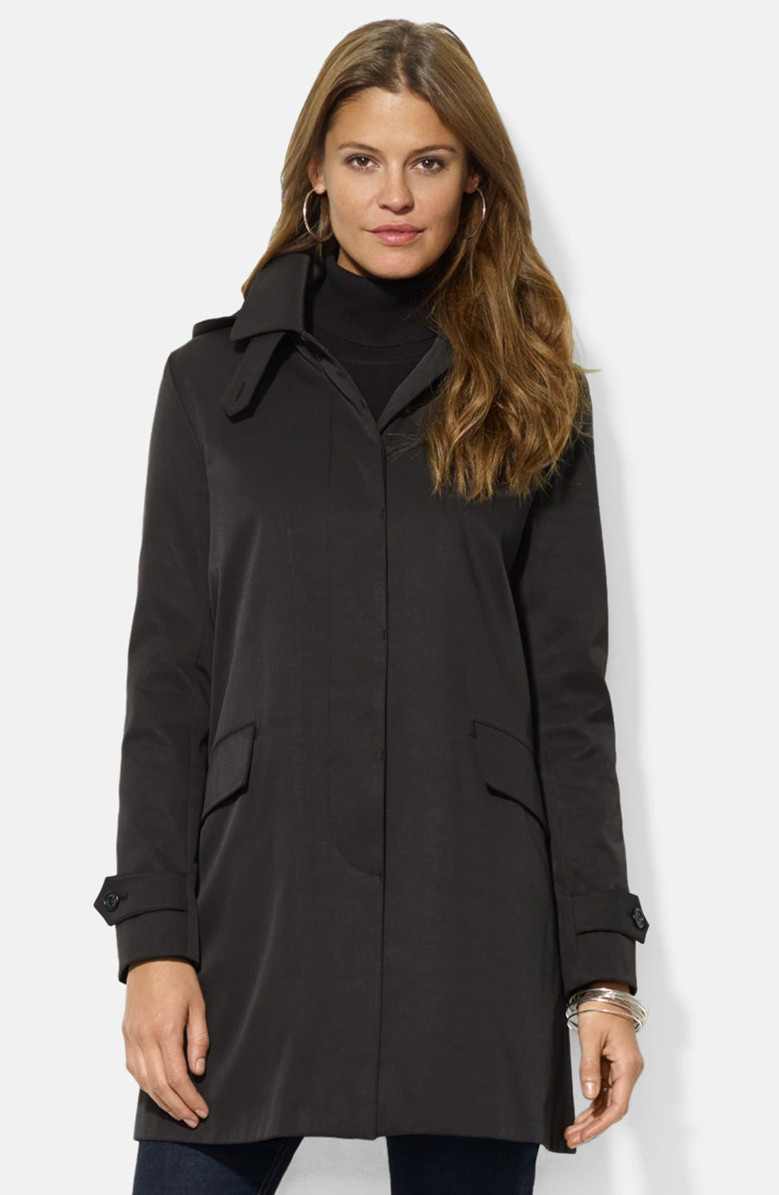 Main Image - Lauren Ralph Lauren Rain Jacket with Detachable Hood & Liner (Nordstrom Exclusive)