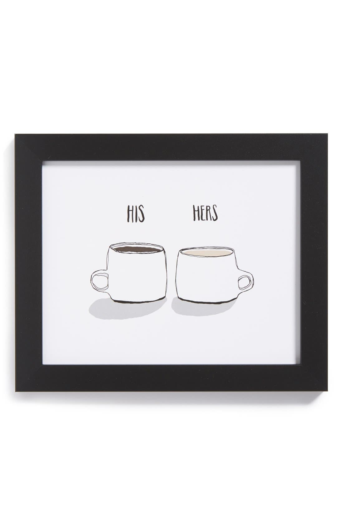 Alternate Image 1 Selected - The Oyster's Pearl 'His & Hers Coffee' Framed Print