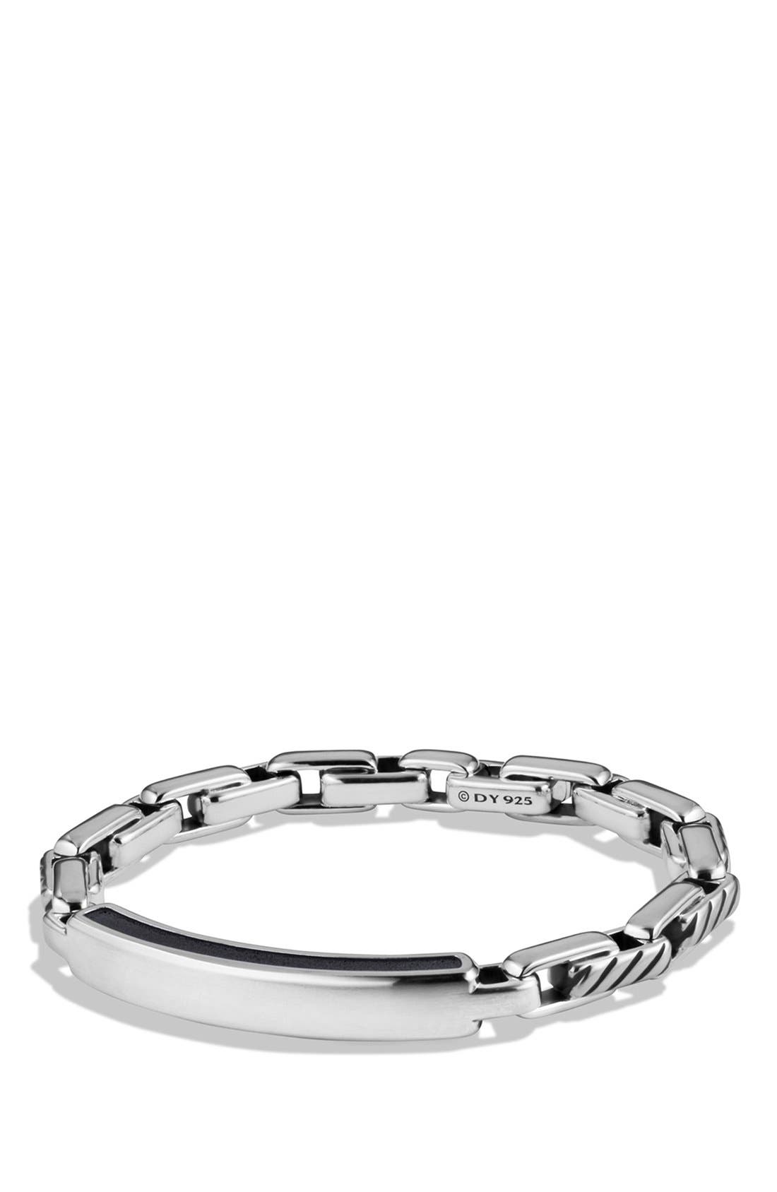 'Modern Cable' ID Bracelet,                         Main,                         color, Silver