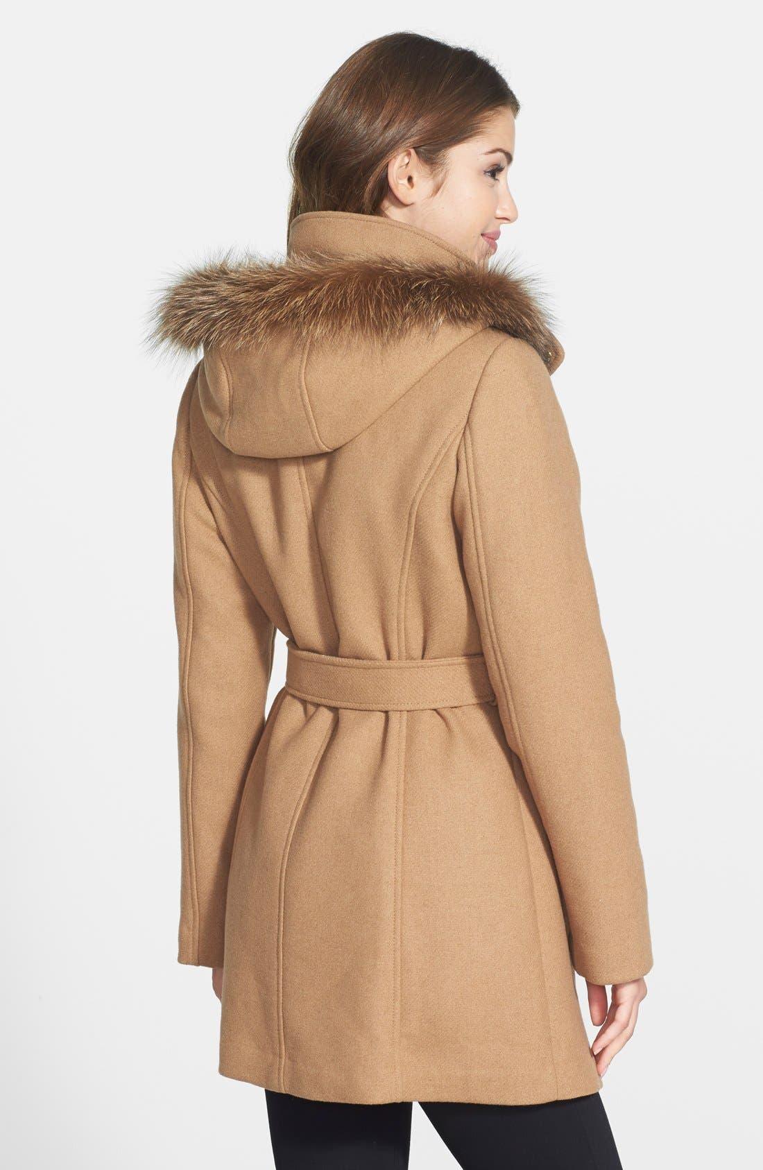 Alternate Image 2  - Ellen Tracy Hooded Wool Blend Coat with Genuine Fox Fur Trim (Online Only)