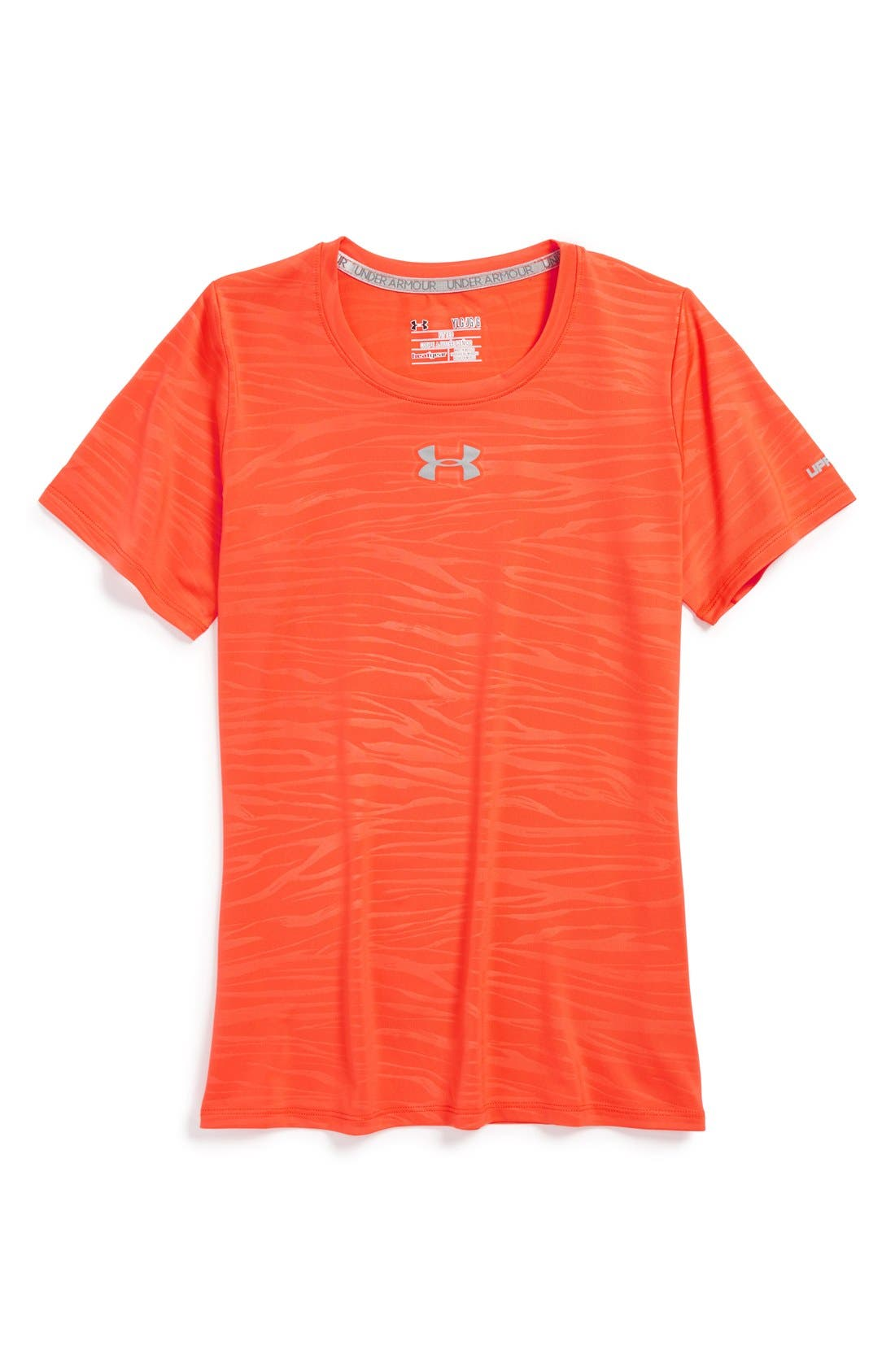 Main Image - Under Armour 'Sonic Print' HeatGear® Fitted Tee (Big Girls)