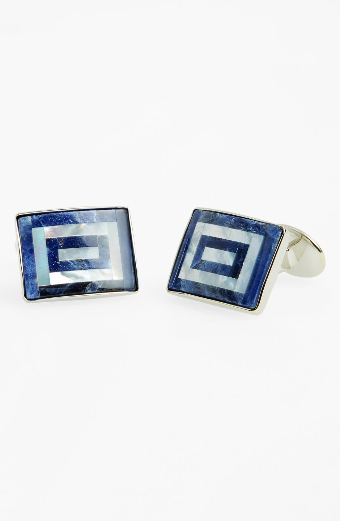 Sodalite & Mother of Pearl Cuff Links,                         Main,                         color, Sterling Silver/ Black