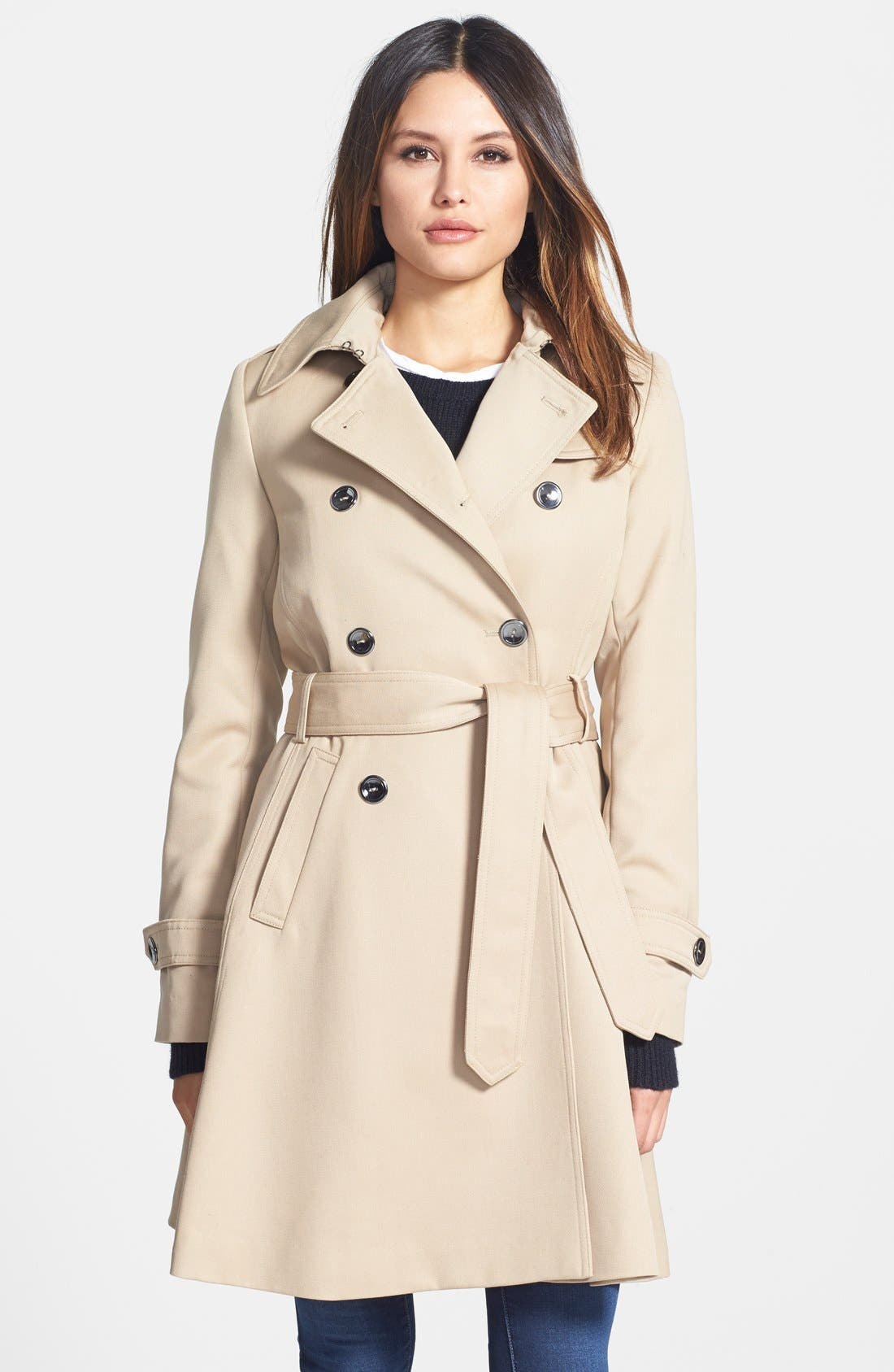 Main Image - Trina Turk 'Gwyneth' Flared Wool Gabardine Trench Coat (Regular & Petite)