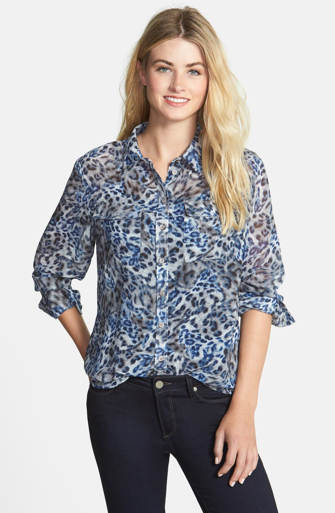 Alternate Image 1 Selected - Two by Vince Camuto Leopard Print Utility Blouse