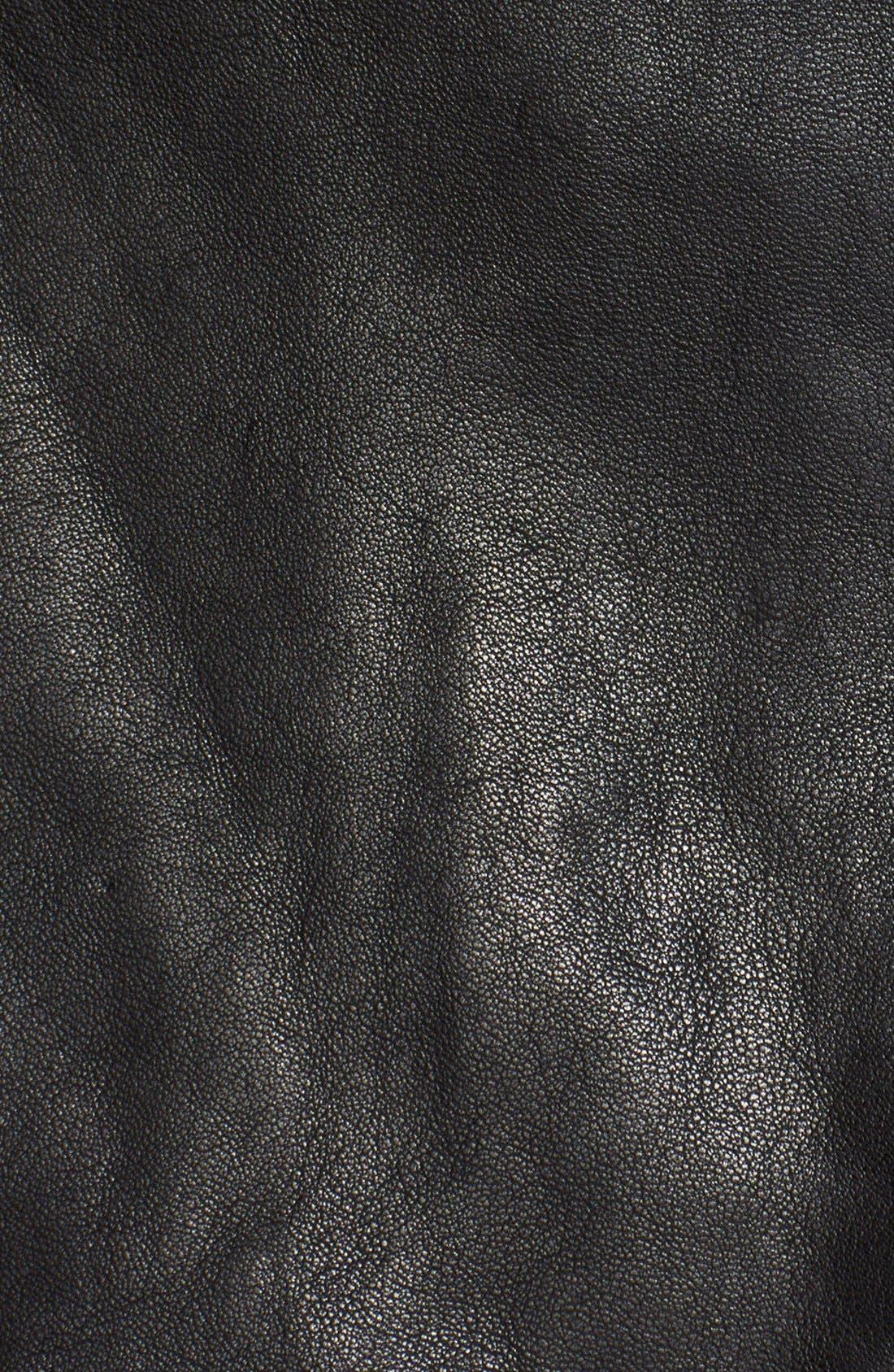 Leather Moto Miniskirt,                             Alternate thumbnail 3, color,                             Black