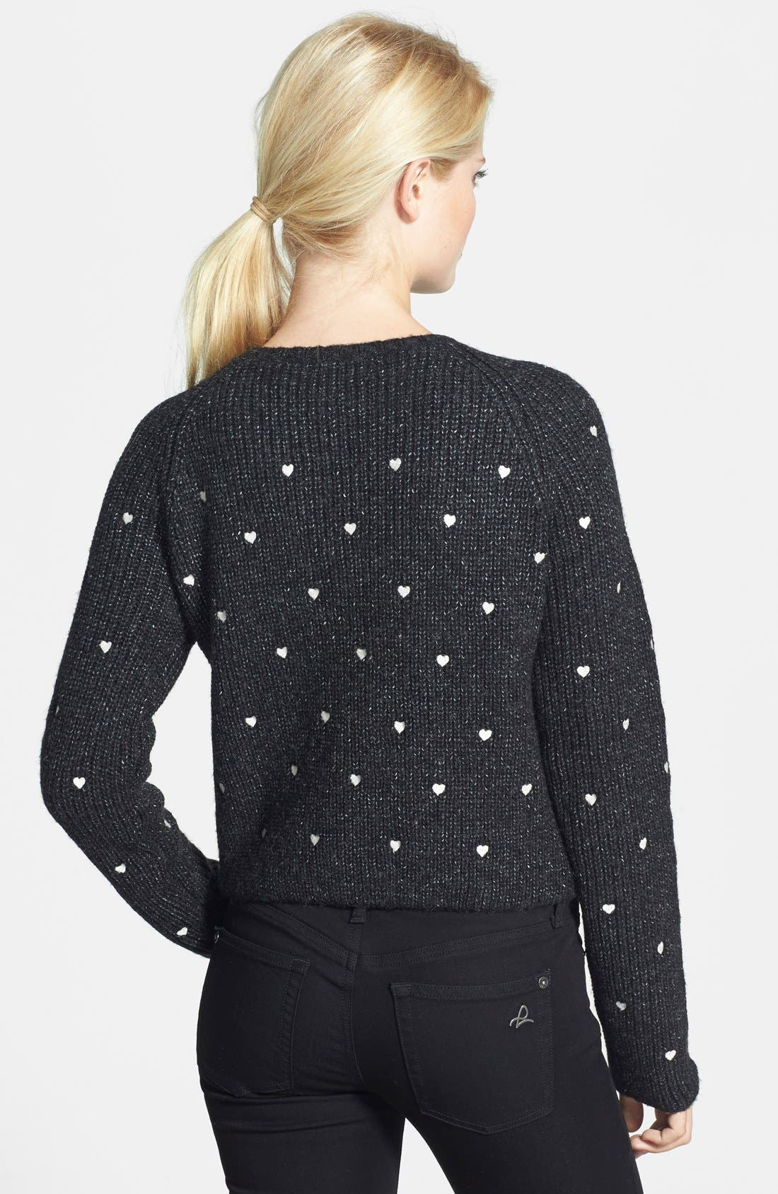 Alternate Image 2  - Press Embroidered Hearts Sweater