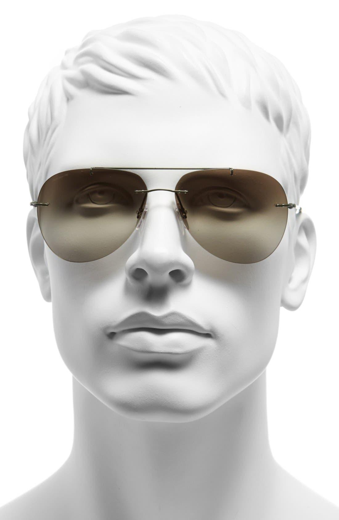 'Pilot' 60mm Rimless Sunglasses,                             Alternate thumbnail 2, color,                             Military Green