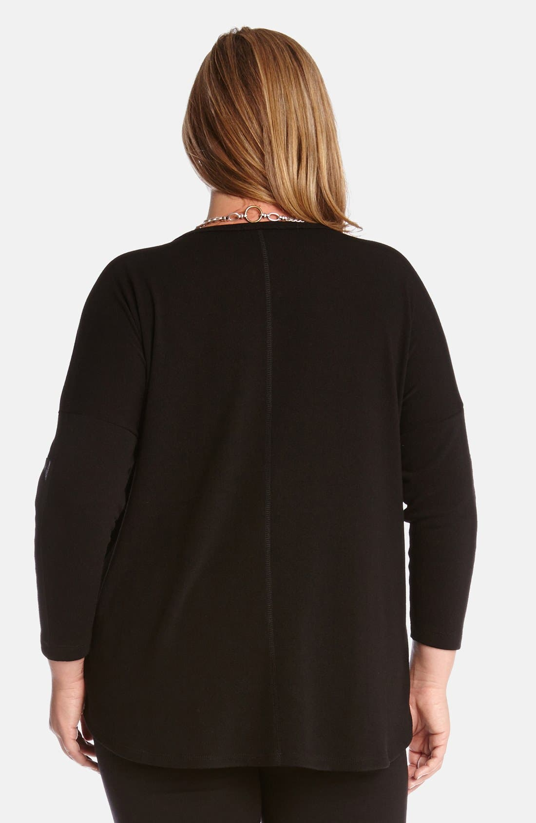 Alternate Image 2  - Karen Kane Faux Leather Trim Sweater (Plus Size)