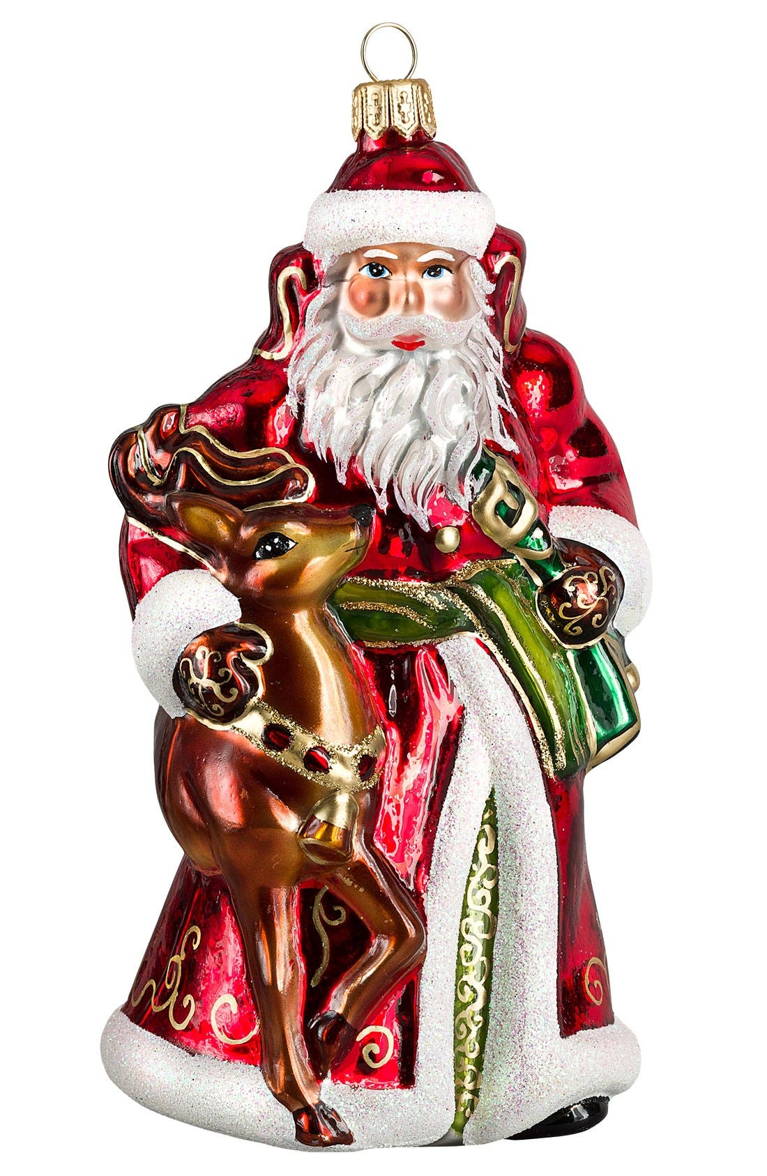 Santa & Reindeer Ornament,                         Main,                         color, Traditional
