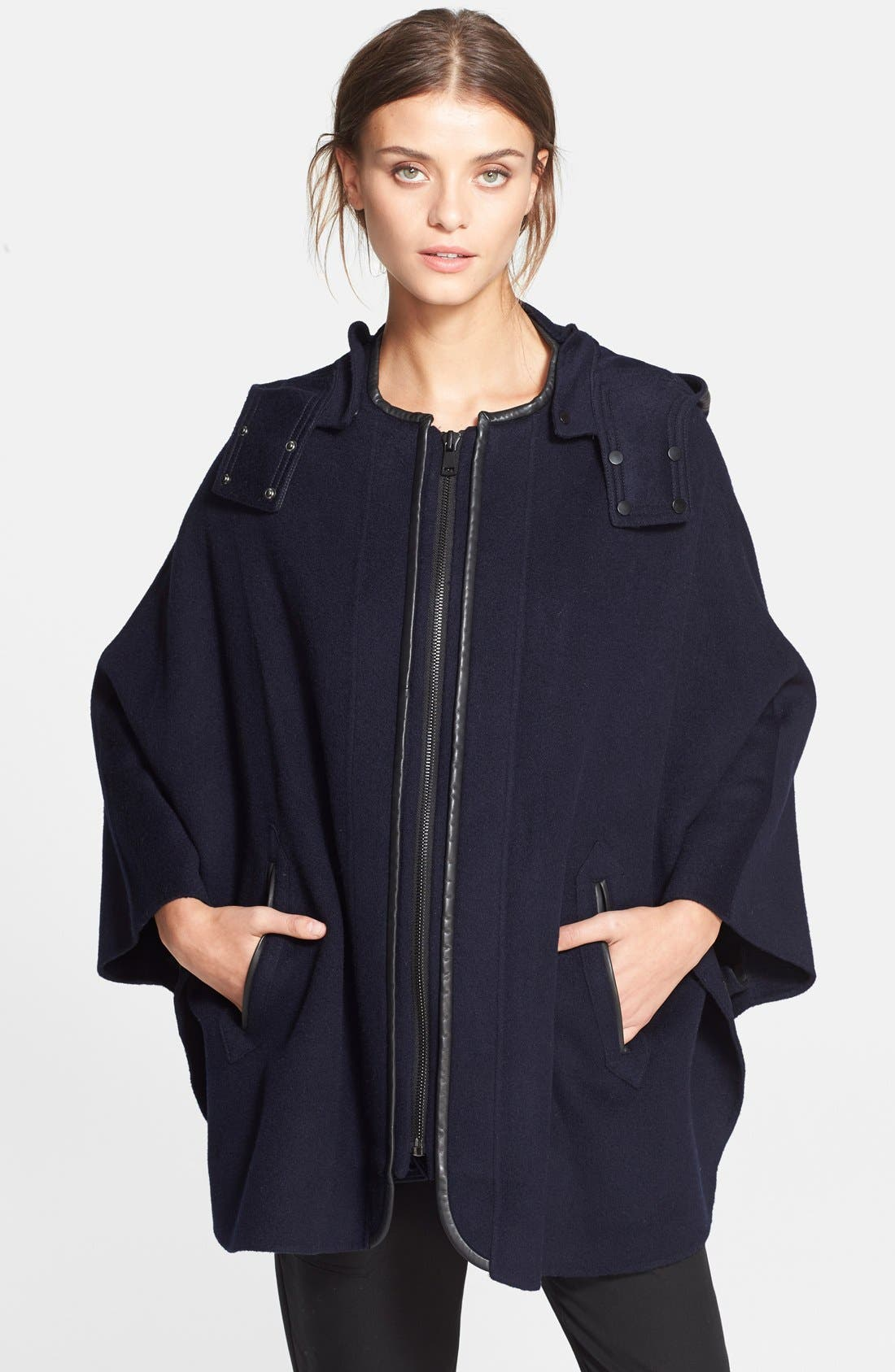 Main Image - Vince Hooded Wool Blend Cape with Leather Trim