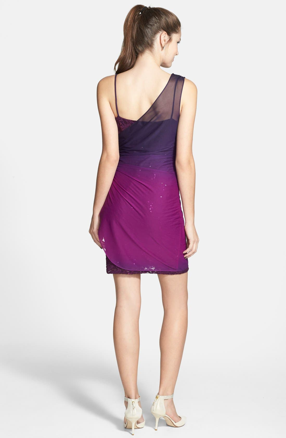 Alternate Image 2  - Jump Apparel Ombré Overlay Body-Con Dress (Juniors)