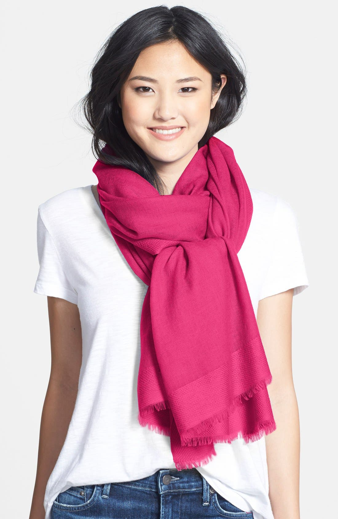 Tissue Weight Wool & Cashmere Wrap,                         Main,                         color, Pink Vivacious