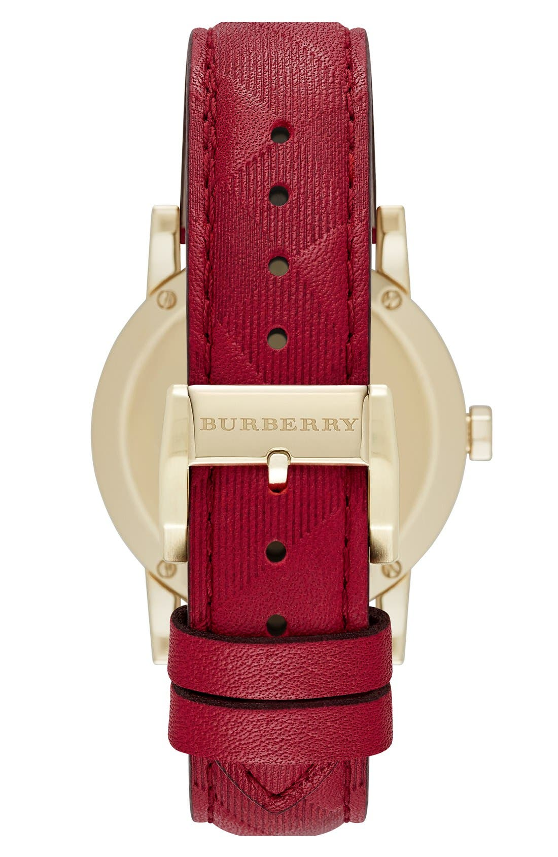 Alternate Image 2  - Burberry 'New Classic' Diamond Index Leather Strap Watch, 34mm