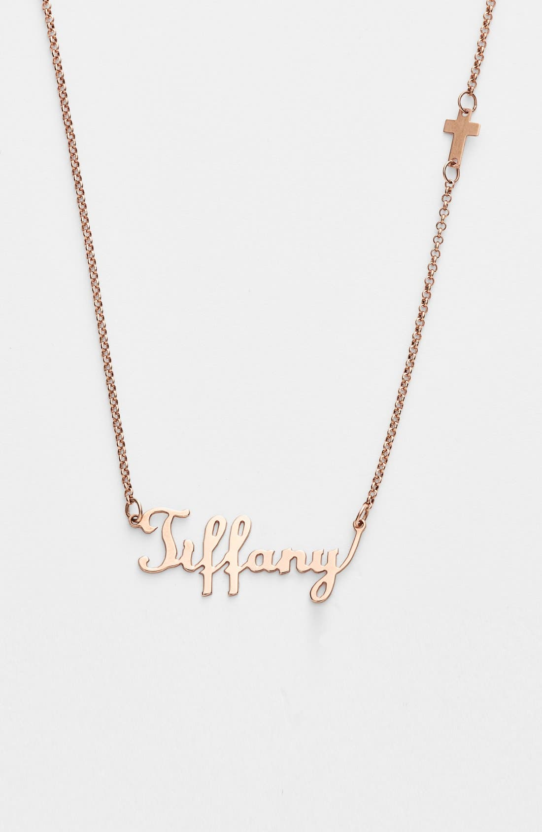 Personalized Script Name with Cross Necklace,                             Main thumbnail 1, color,                             Rose Gold