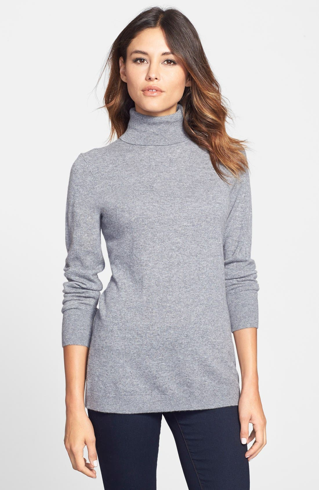 Alternate Image 1 Selected - Nordstrom Collection Long Cashmere Turtleneck Sweater