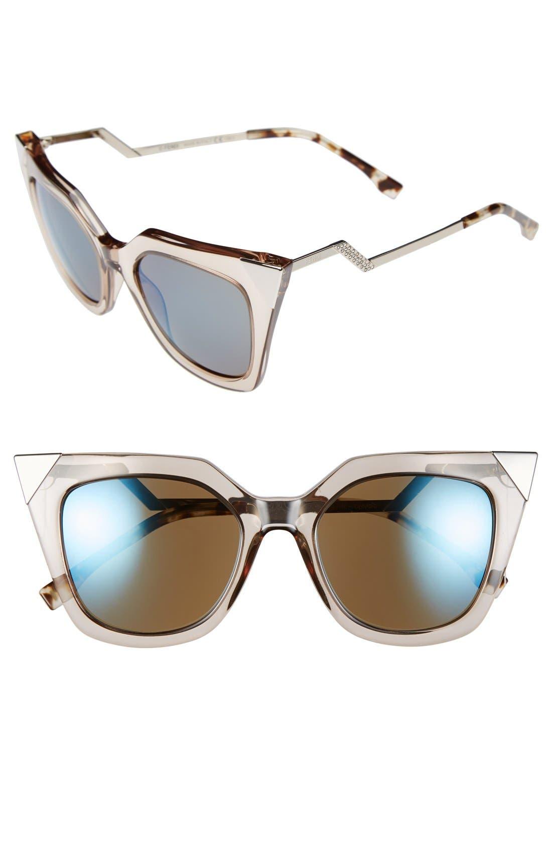 52mm Cat Eye Sunglasses,                             Main thumbnail 1, color,                             Dove Grey