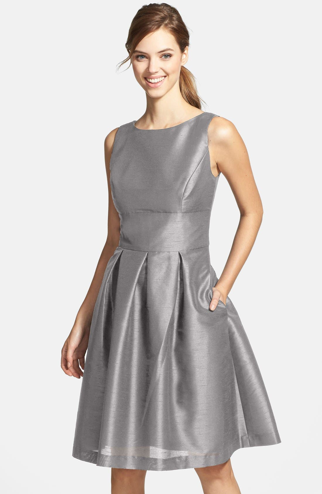 Dupioni Fit & Flare Dress,                         Main,                         color, Quarry